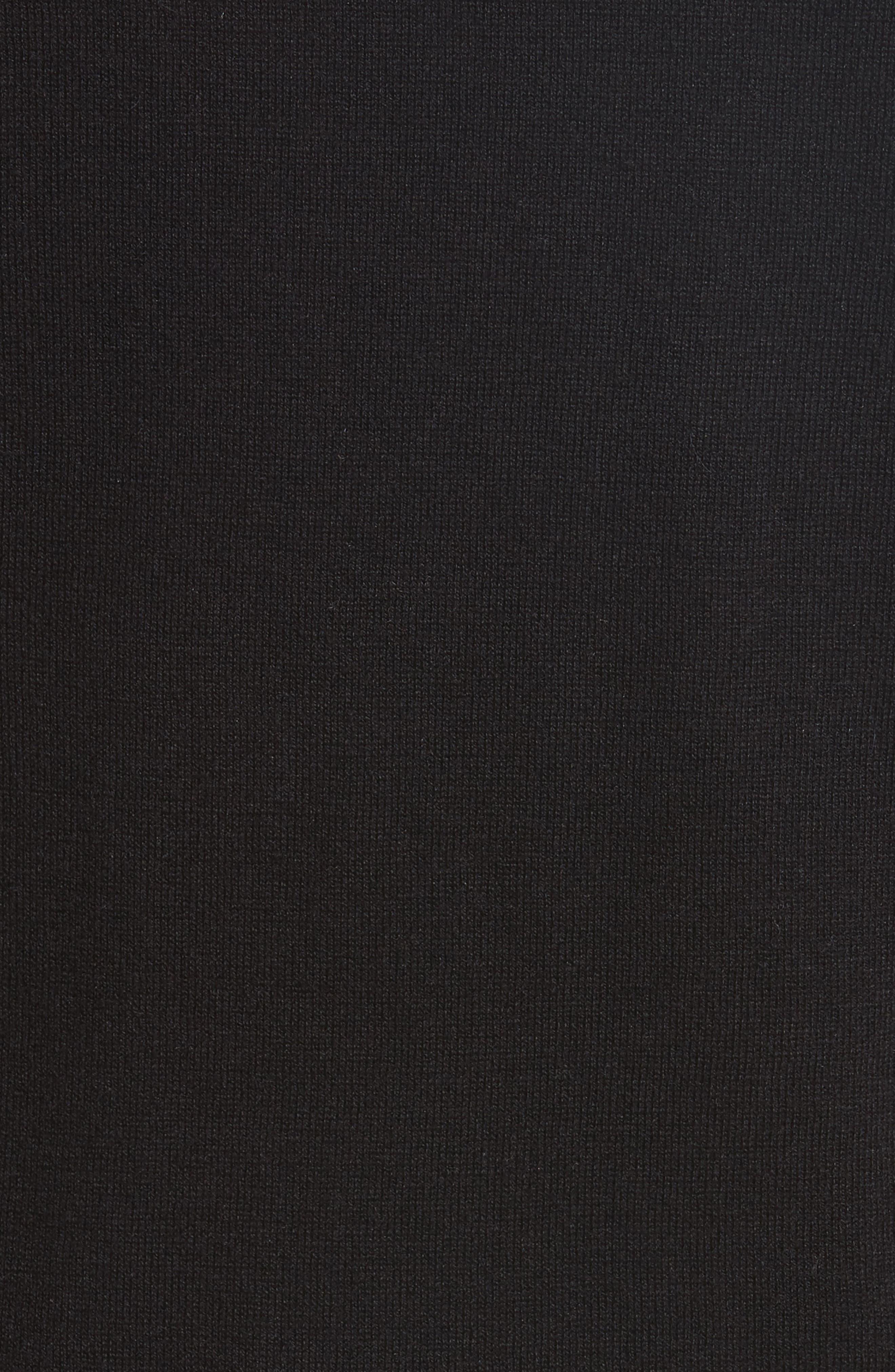 ruffle silk blend sweater,                             Alternate thumbnail 5, color,                             Black