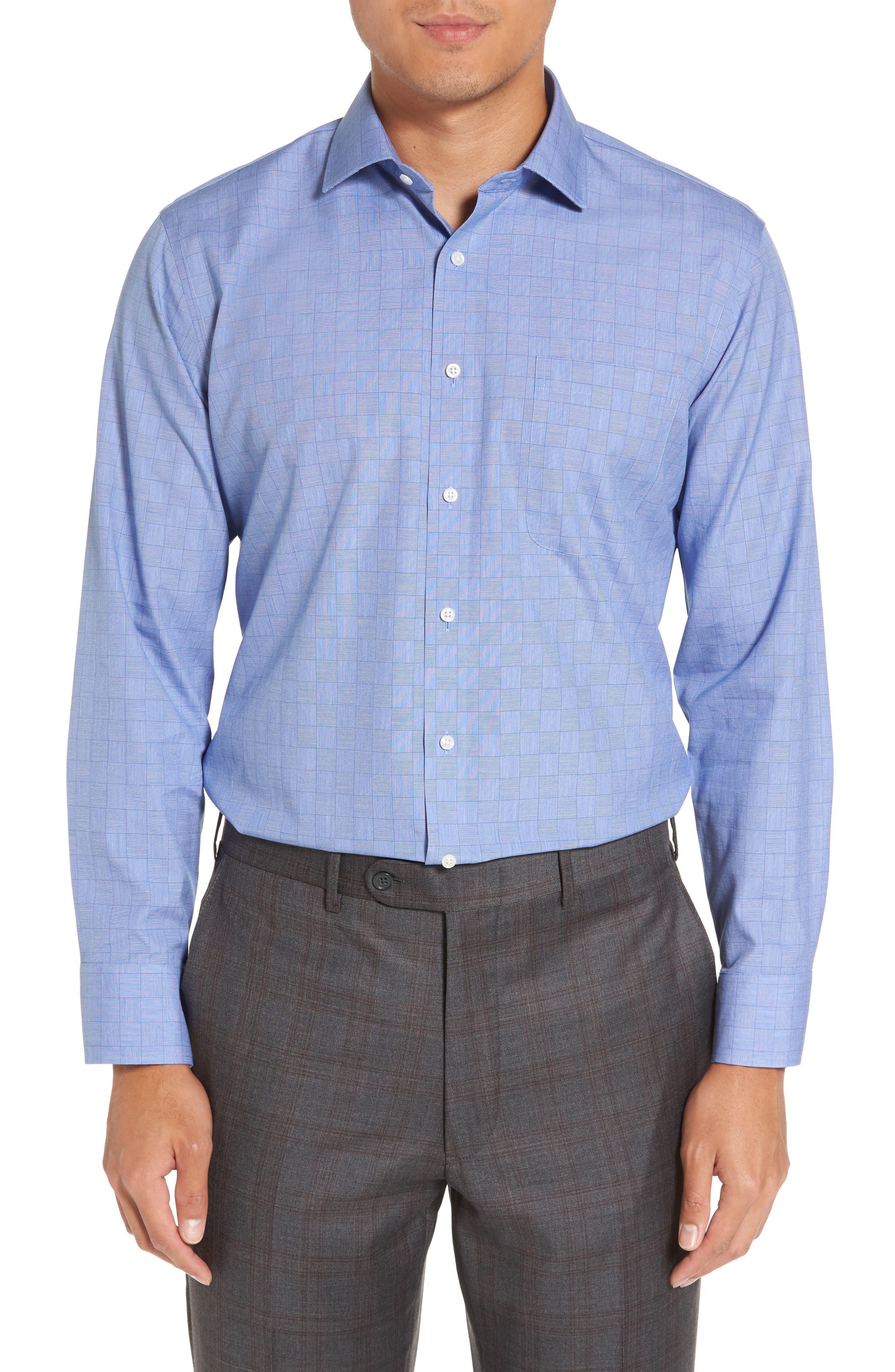 Smartcare<sup>™</sup> Trim Fit Check Dress Shirt,                         Main,                         color, Blue Regatta