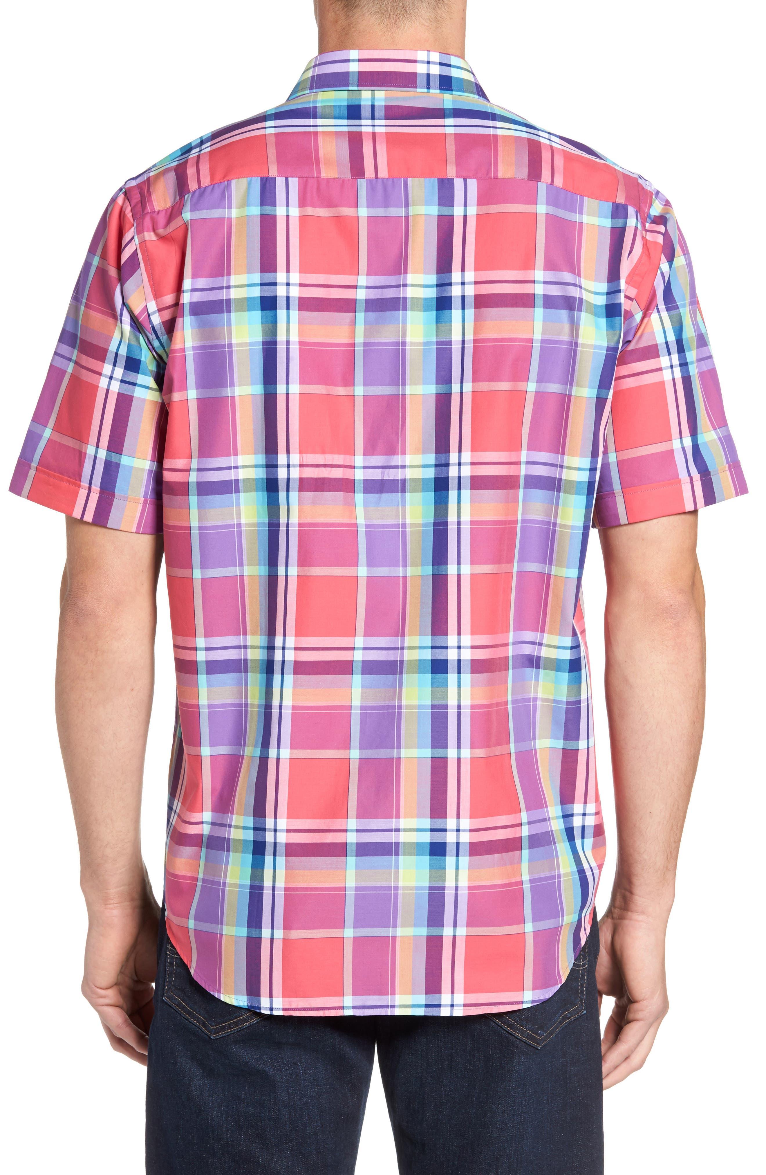 Classic Fit Plaid Sport Shirt,                             Alternate thumbnail 2, color,                             Cherry