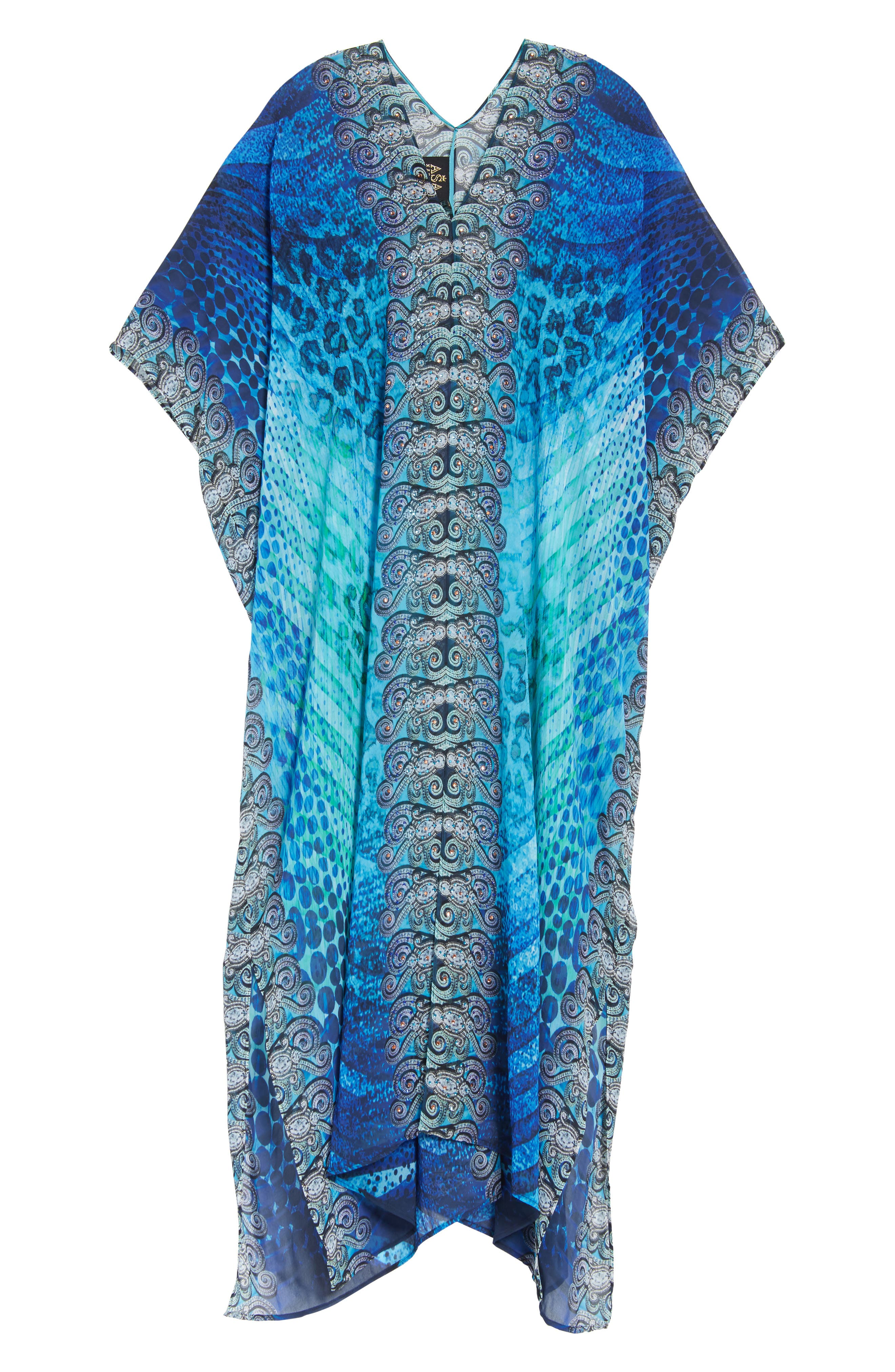 Santorini Desert Long Kaftan,                             Alternate thumbnail 5, color,                             Blue