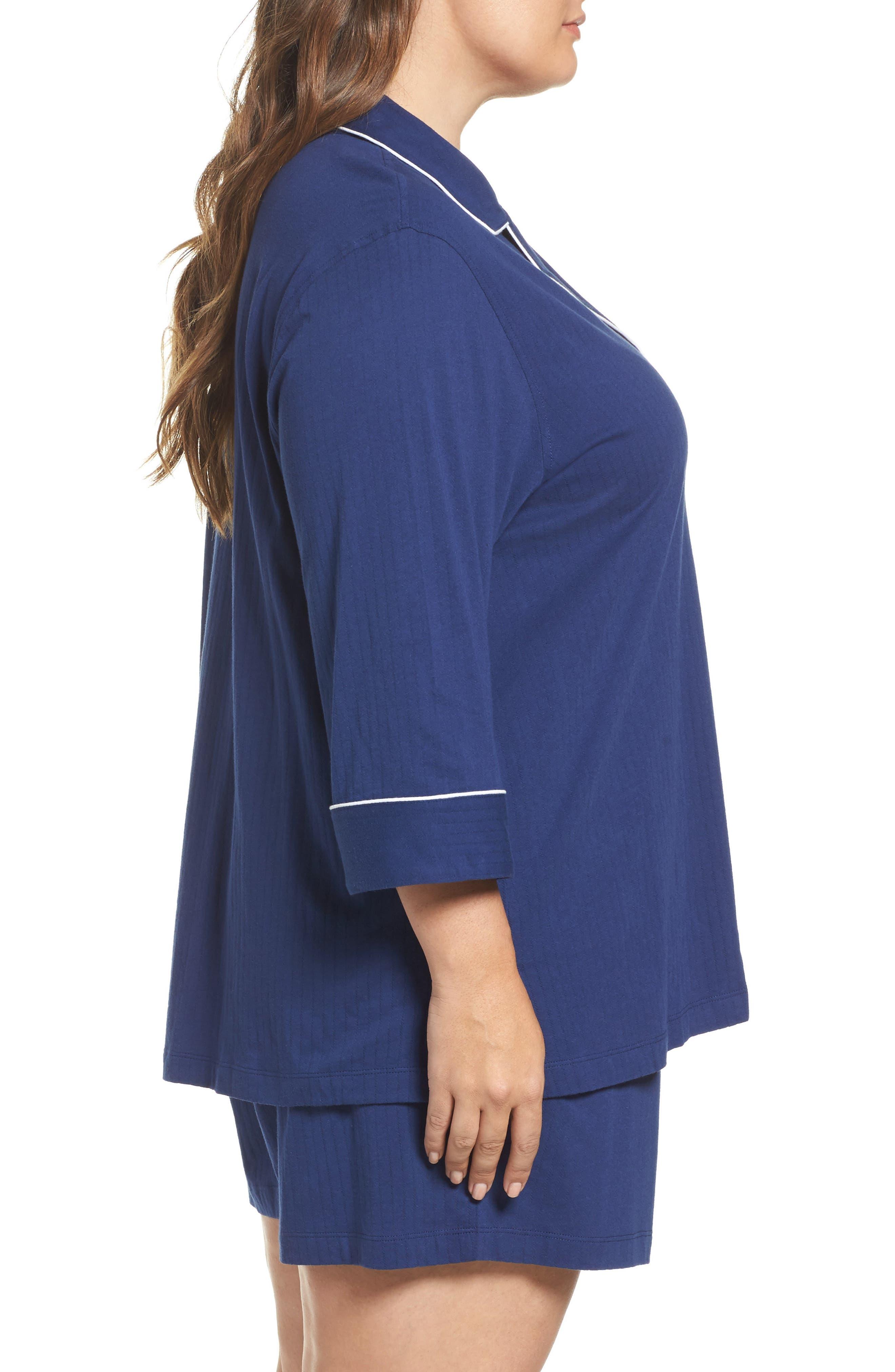 Notched Collar Pajamas,                             Alternate thumbnail 3, color,                             Navy