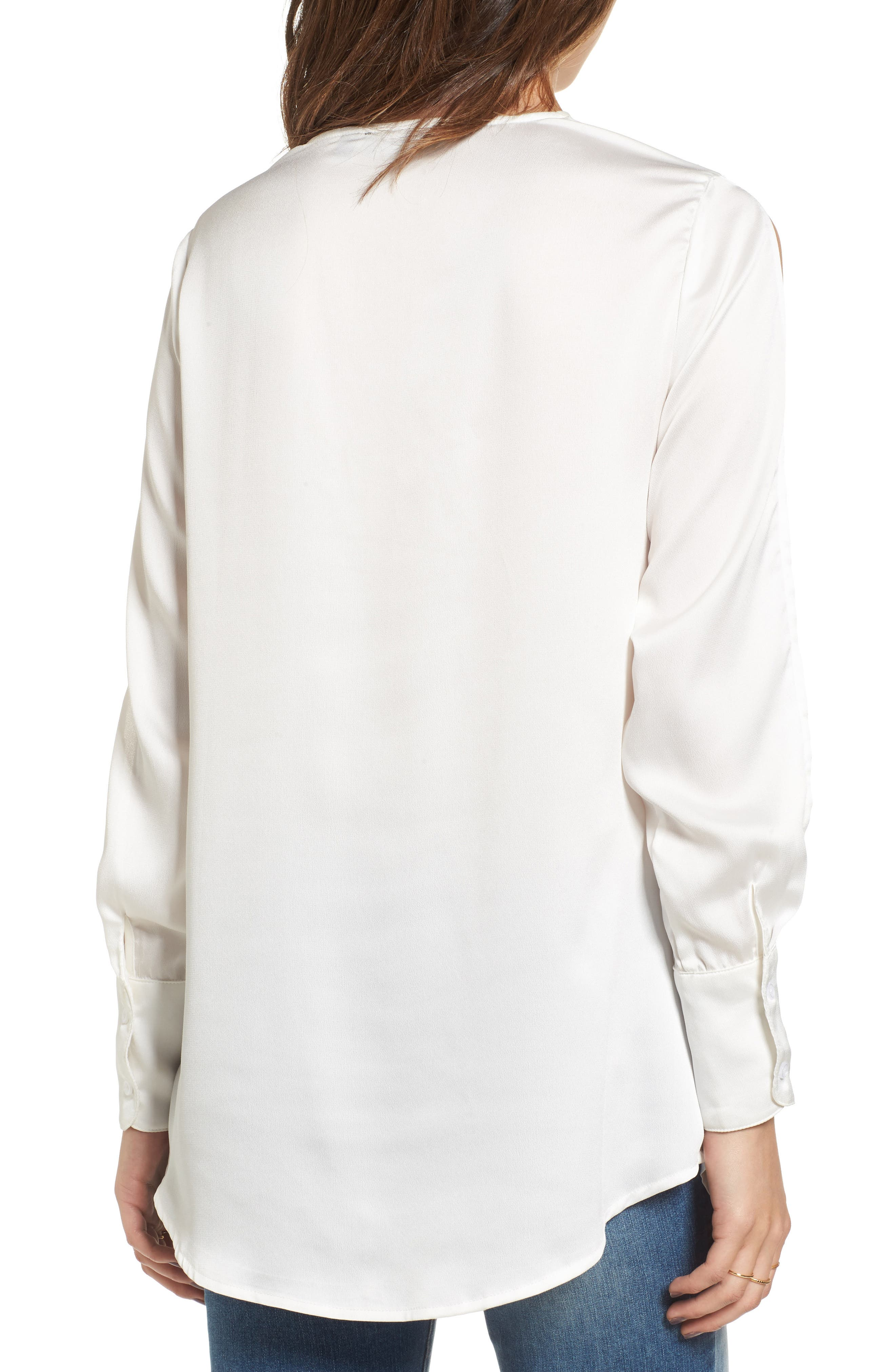 Knotted Hammered Satin Blouse,                             Alternate thumbnail 3, color,                             Ivory