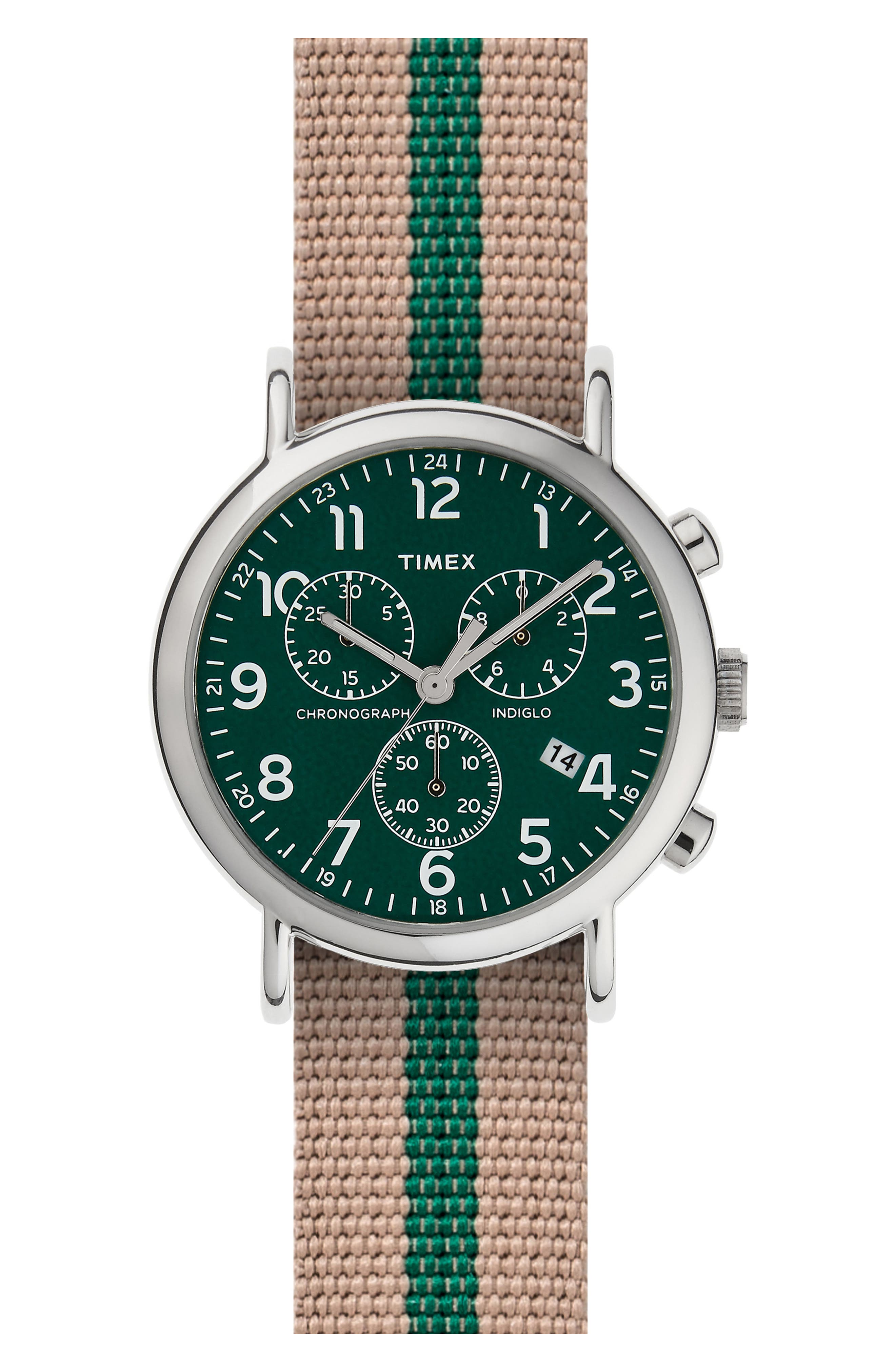 Alternate Image 1 Selected - Timex® ARCHIVE Chronograph Stripe Fabric Strap Watch, 40mm