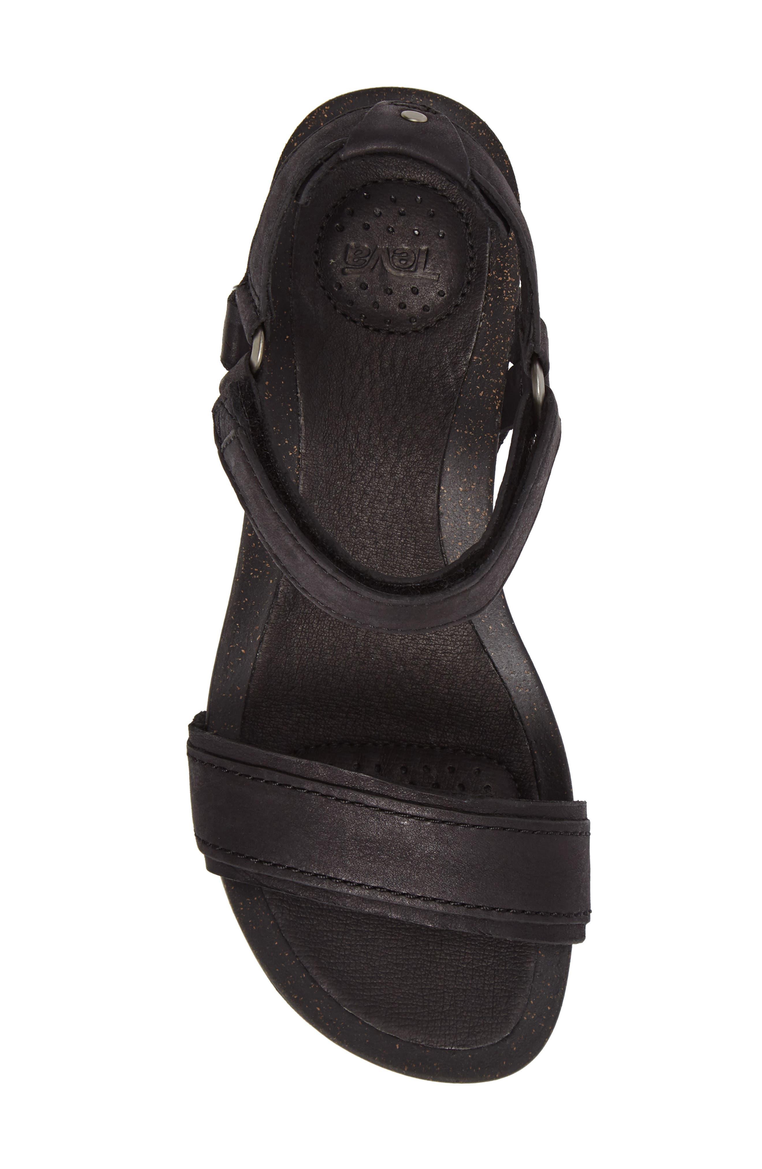 Ysidro Stitch Wedge Sandal,                             Alternate thumbnail 5, color,                             Black Leather