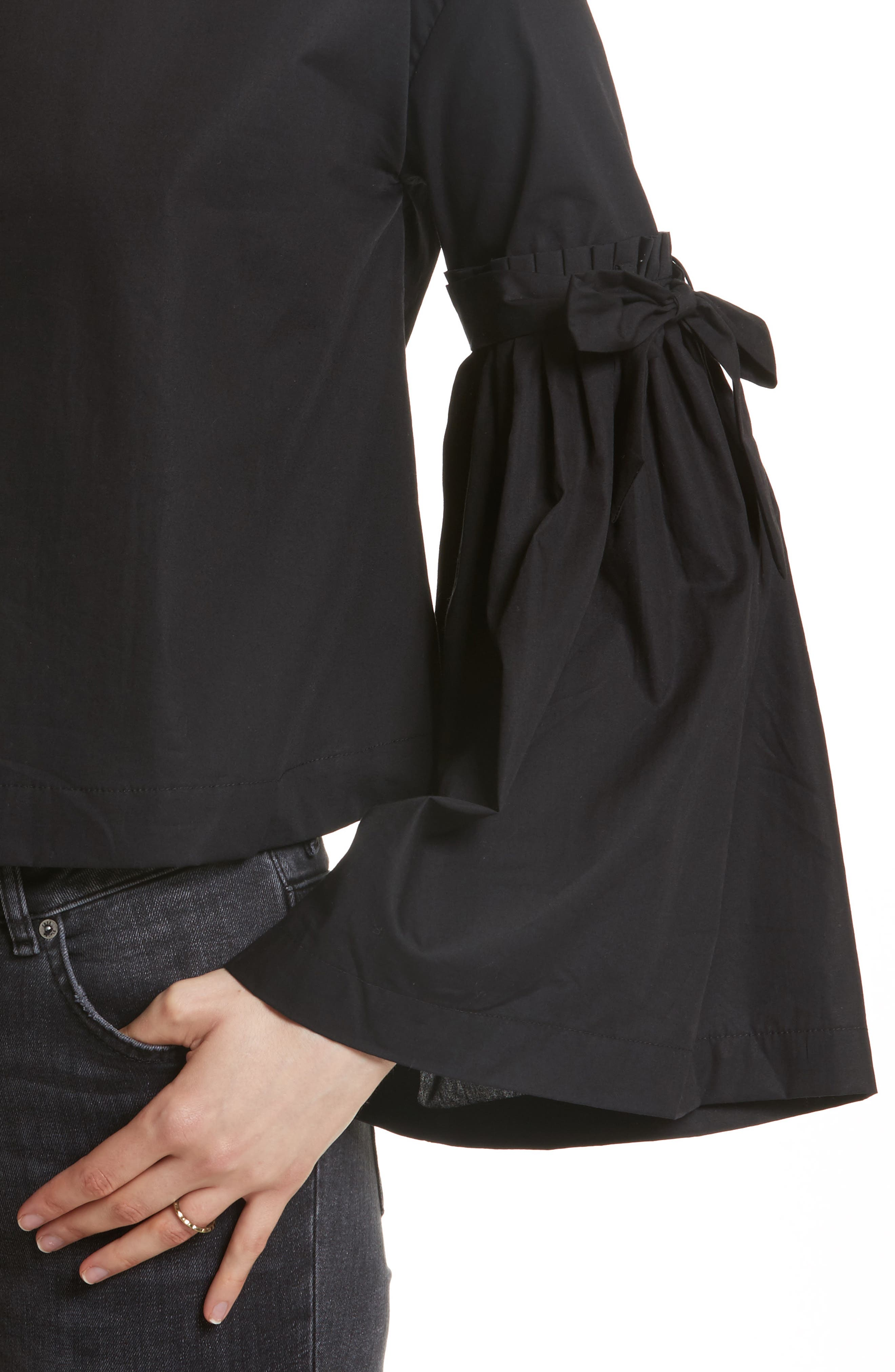 So Obviously Yours Bell Sleeve Top,                             Alternate thumbnail 4, color,                             Black