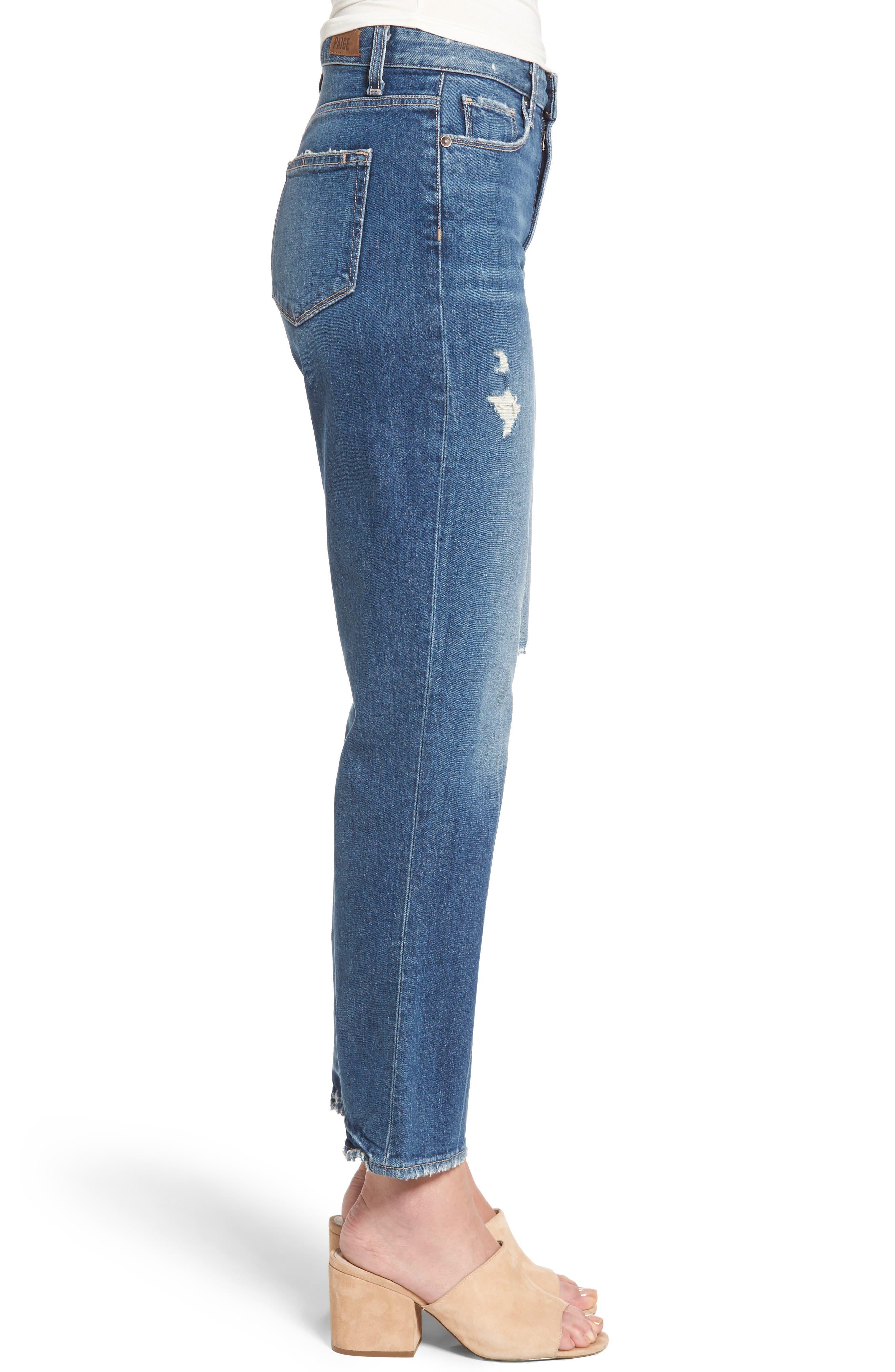 Alternate Image 4  - PAIGE Vintage - Sarah High Waist Crop Straight Leg Jeans (Kellan Destructed)
