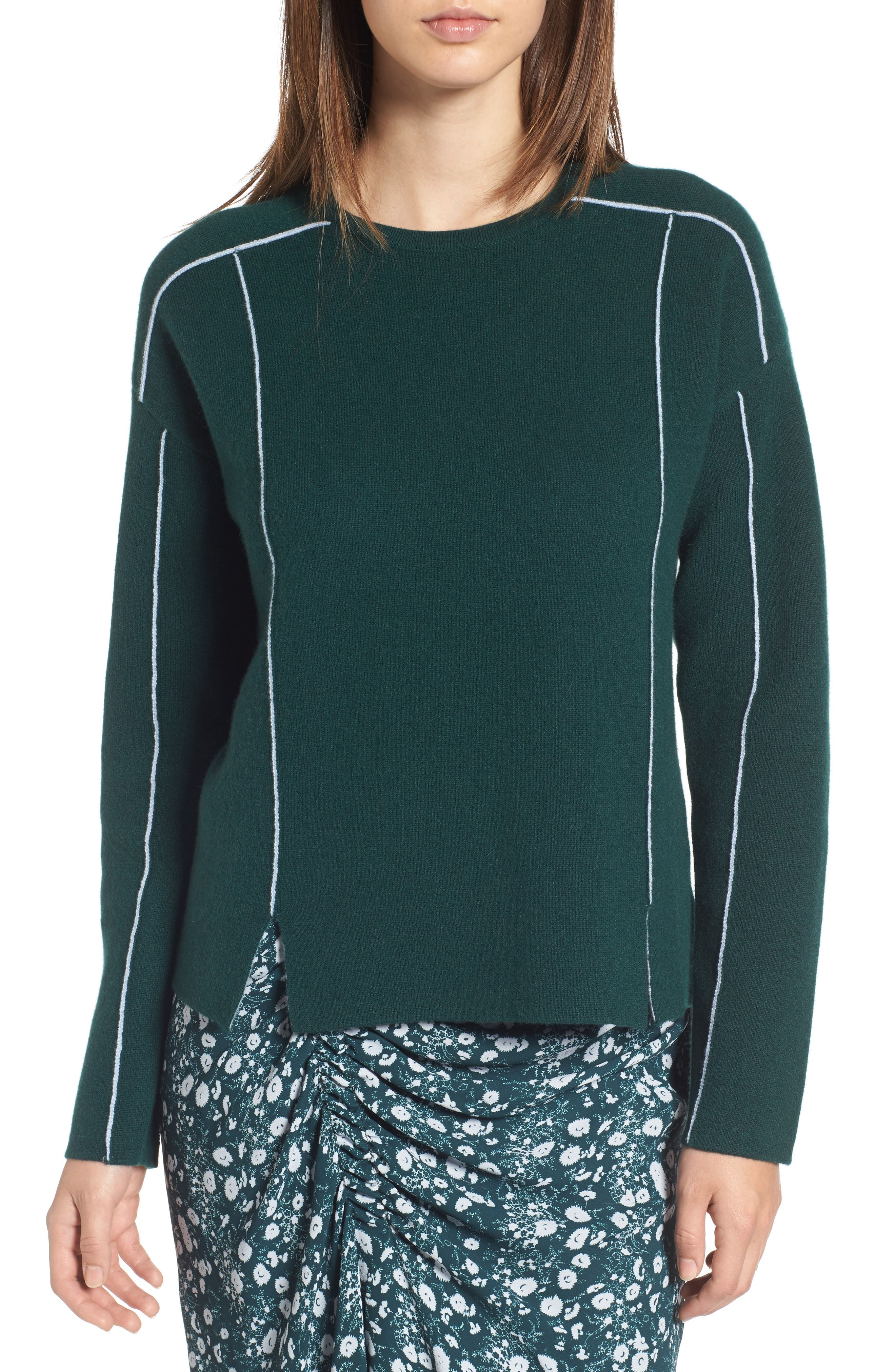 Double Knit Cashmere Blend Pullover,                         Main,                         color, Green Ponderosa- Blue Pearl