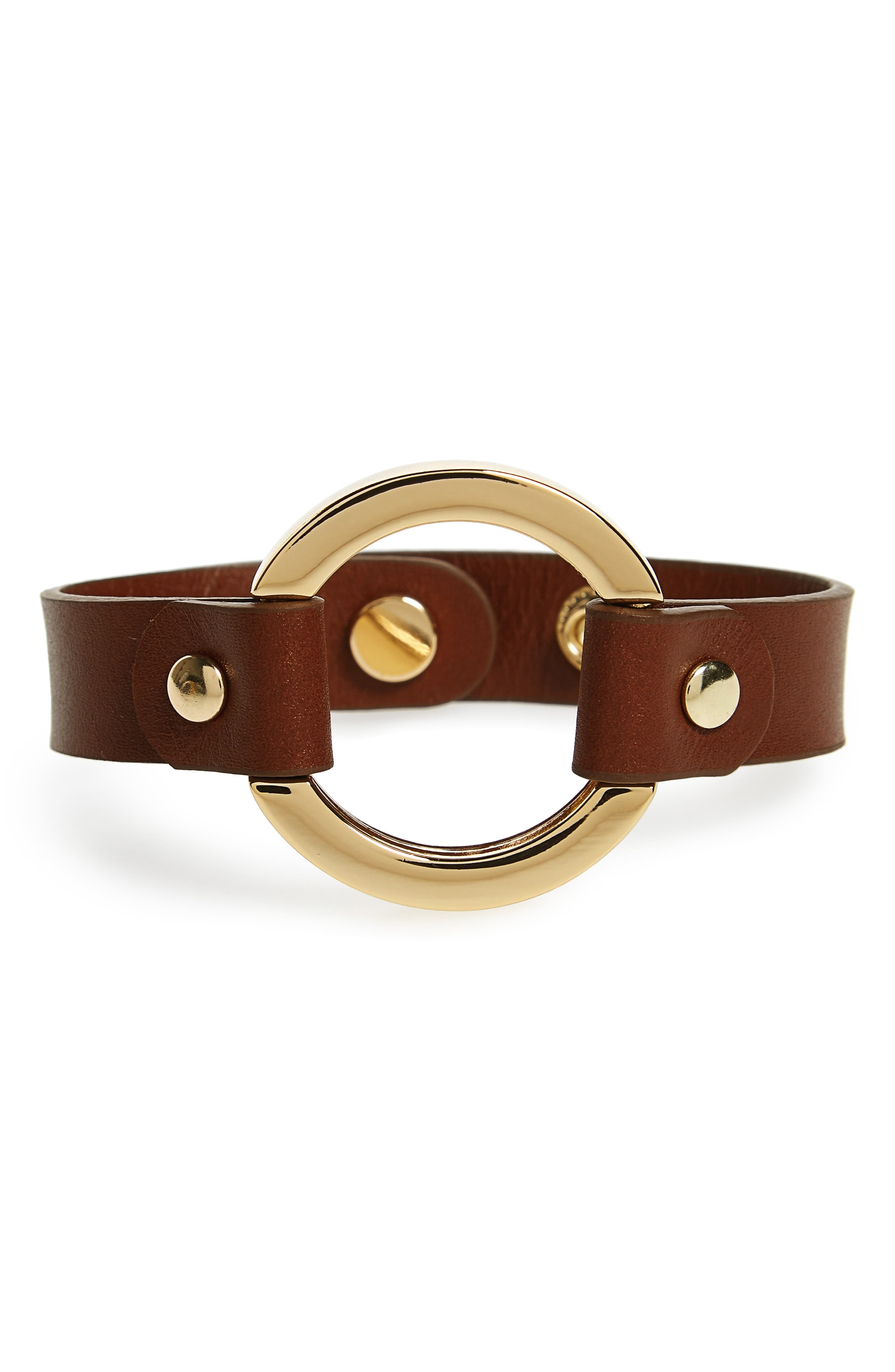 Halogen Leather Cuff,                         Main,                         color, Luggage- Gold