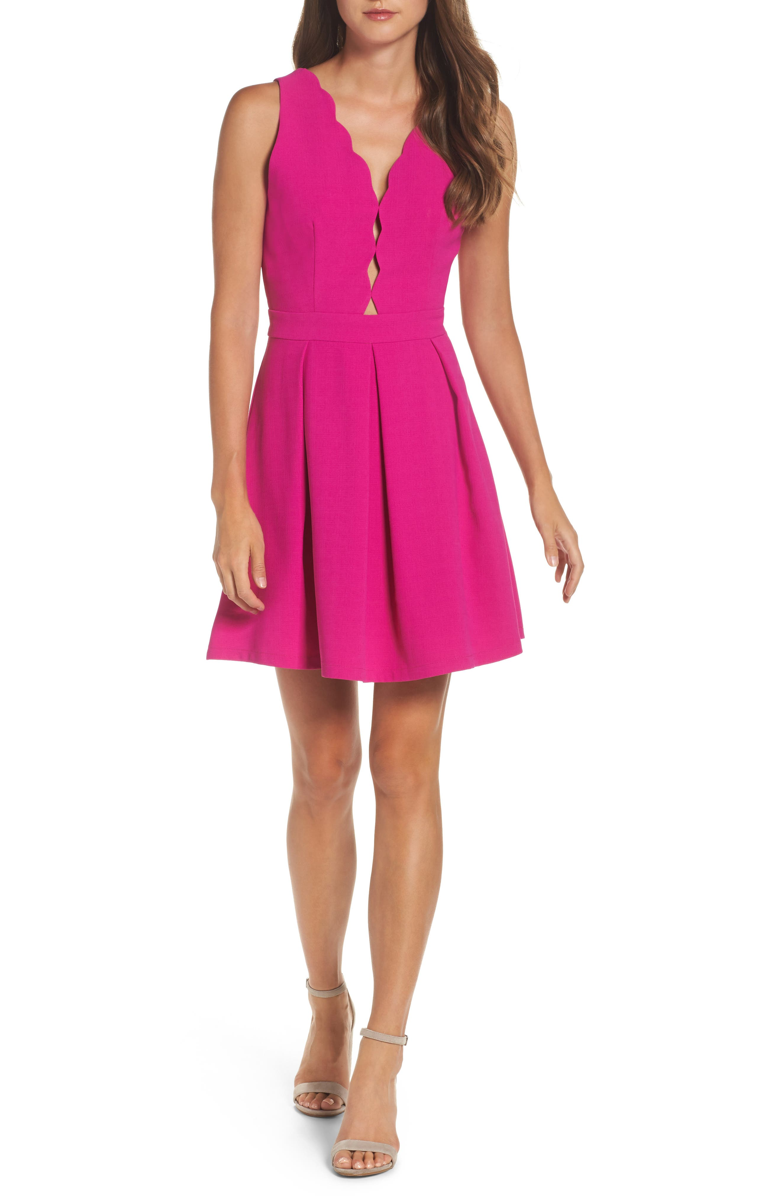 Adelyn Rae Scalloped Fit & Flare Dress