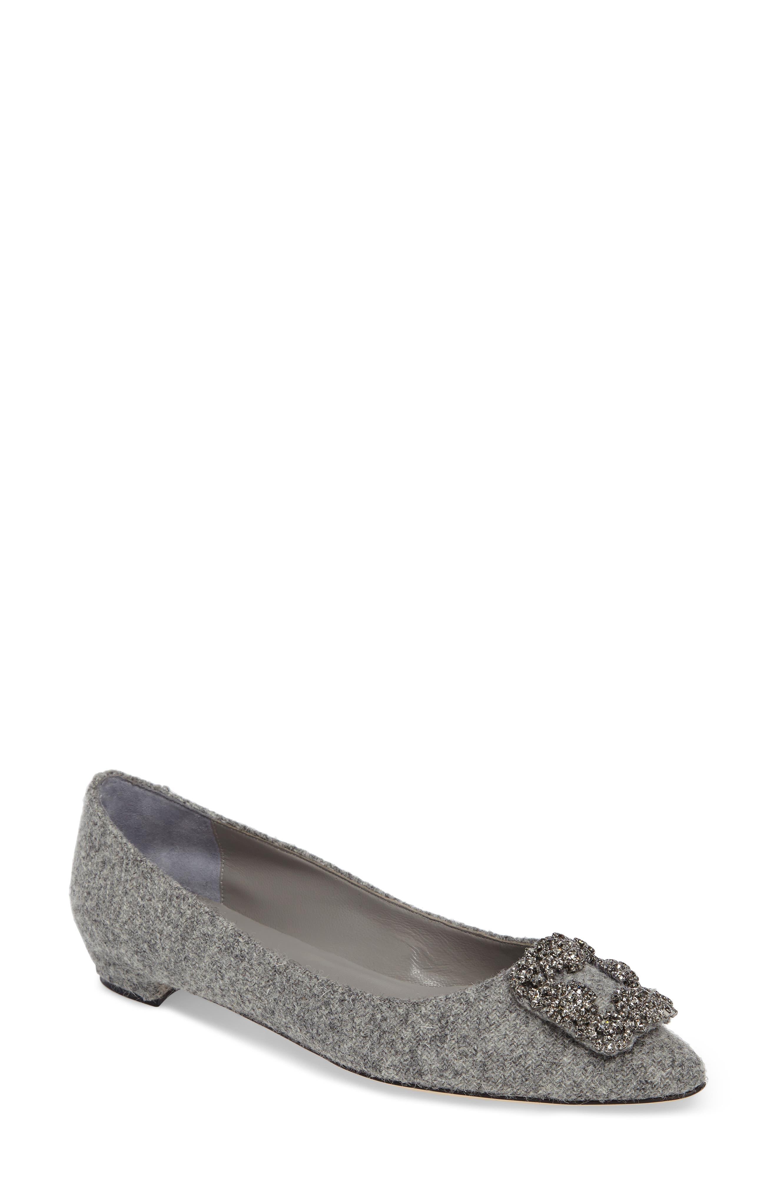 Main Image - Manolo Blahnik 'Hangisi' Jeweled Pointy Toe Flat (Women)