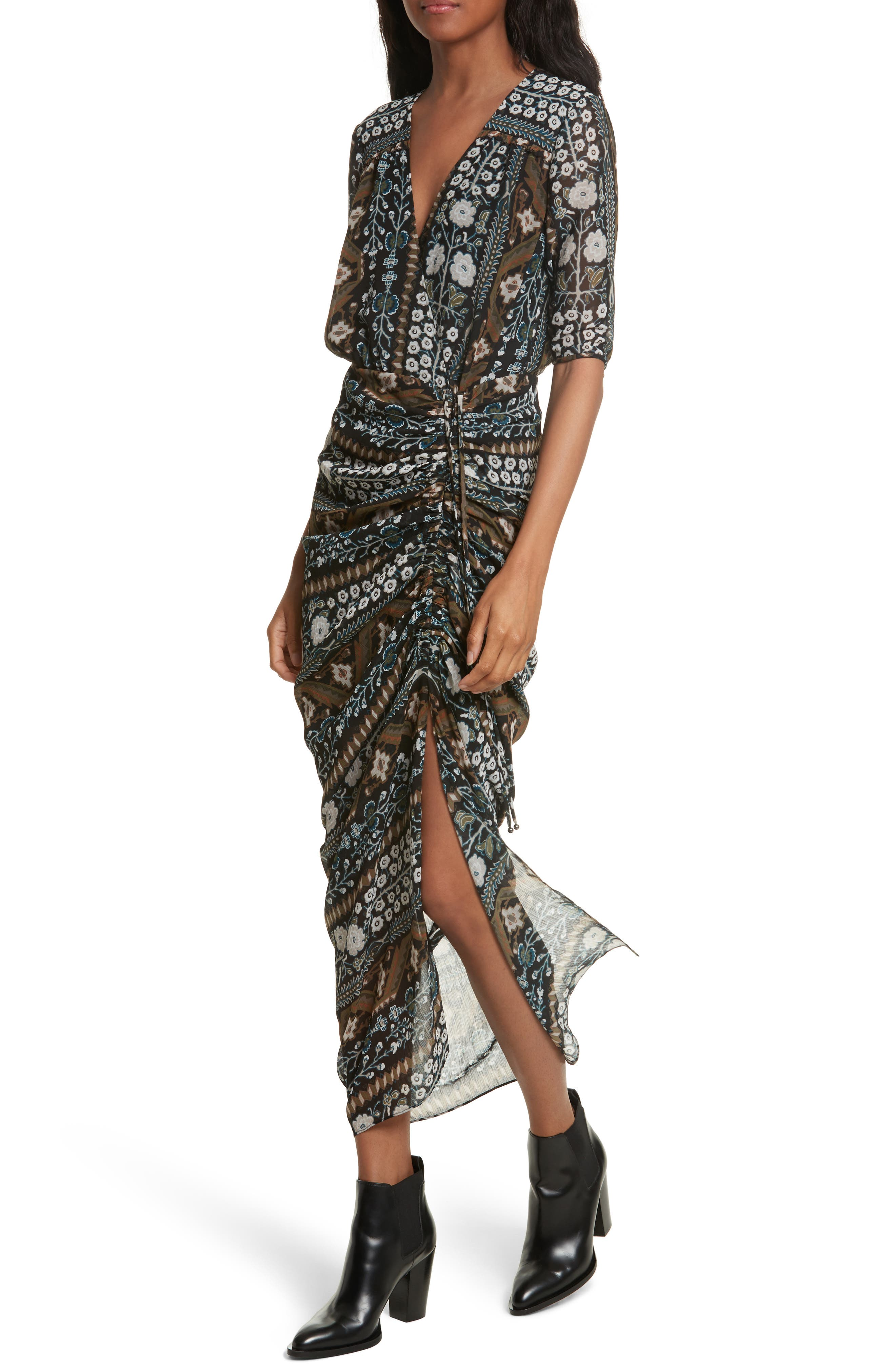 Perla Ruched Midi Dress,                             Alternate thumbnail 4, color,                             Army/ Black Multi