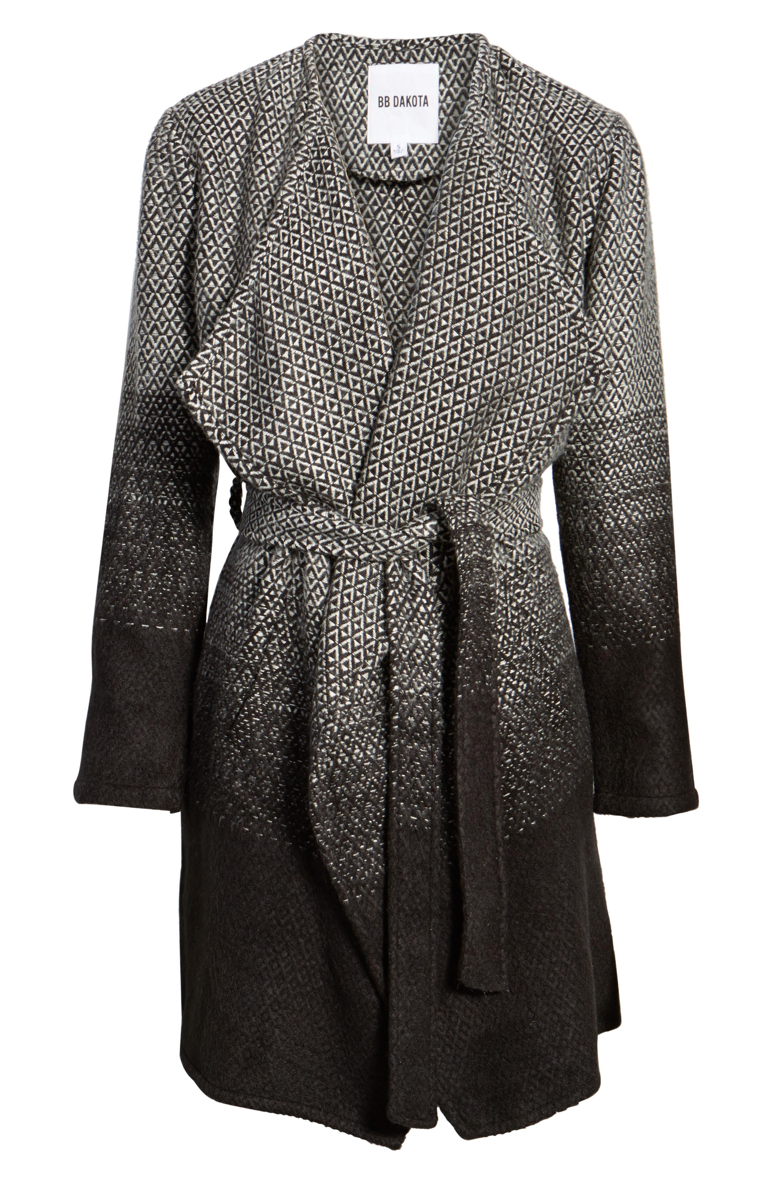 Myles Ombré Blanket Coat,                             Alternate thumbnail 6, color,                             Black