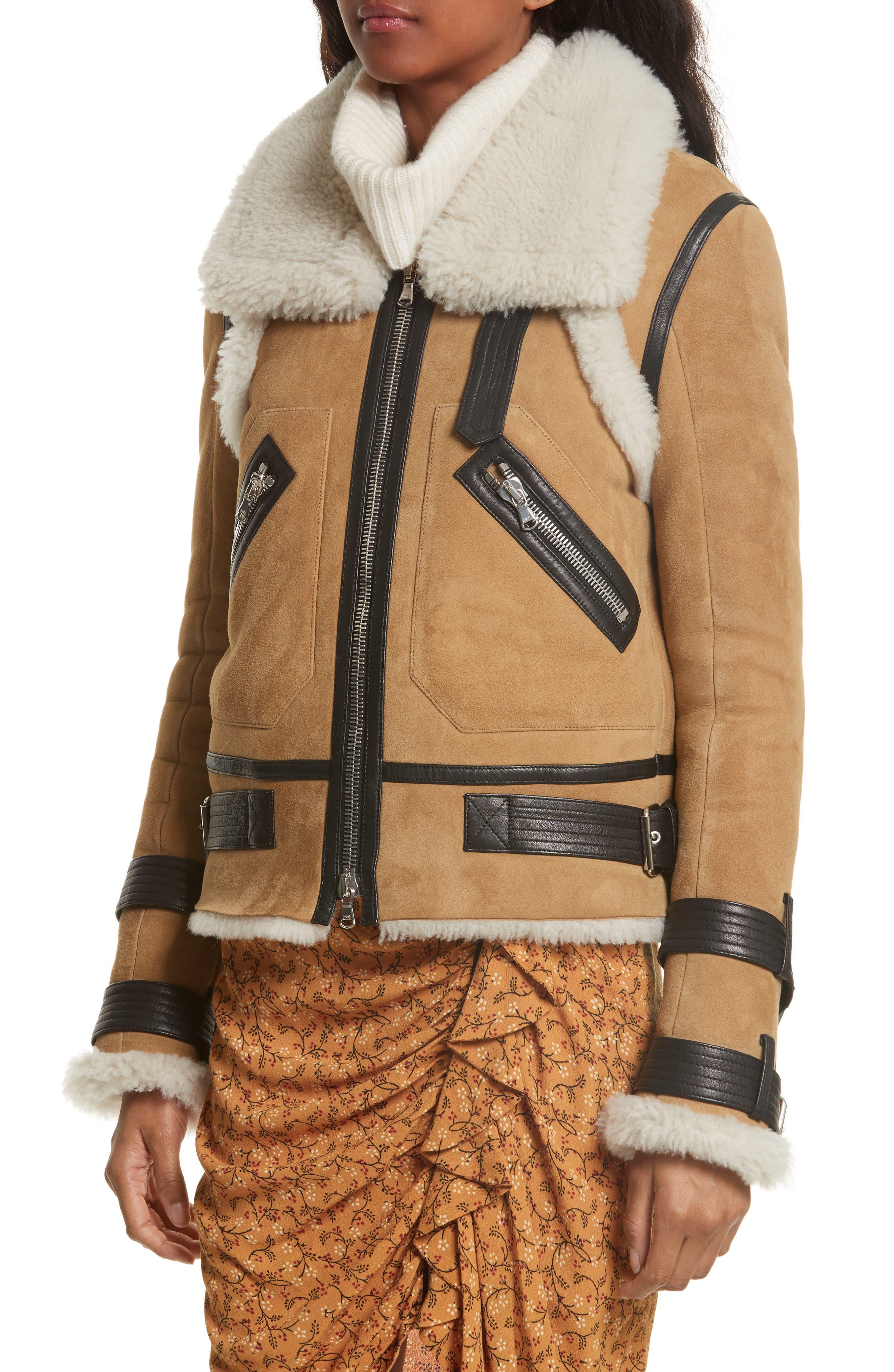 Windsor Genuine Shearling Pilot Jacket,                             Alternate thumbnail 5, color,                             Beige