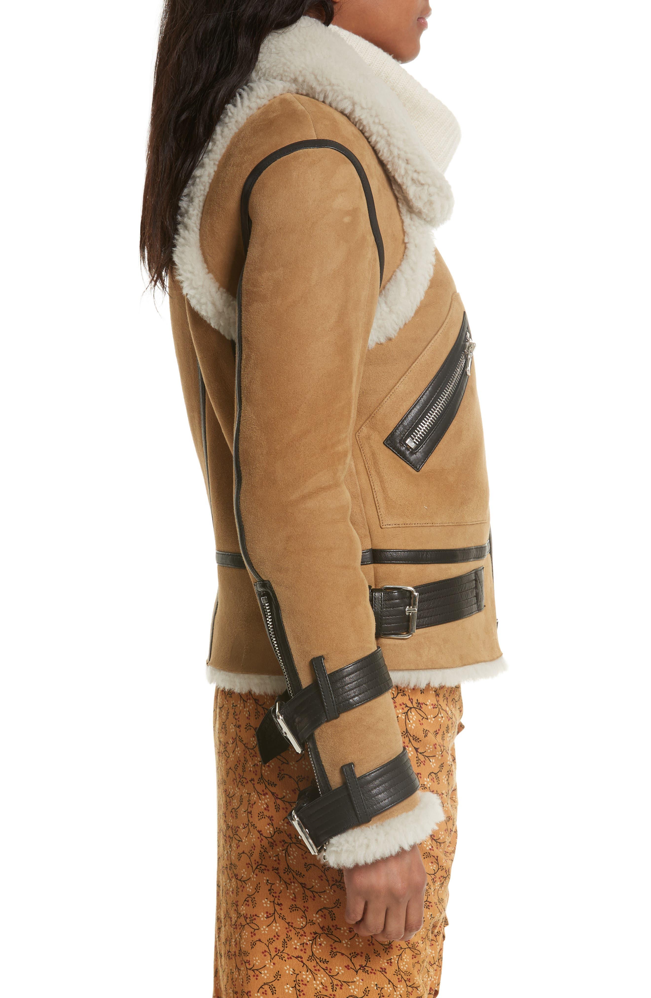 Windsor Genuine Shearling Pilot Jacket,                             Alternate thumbnail 4, color,                             Beige