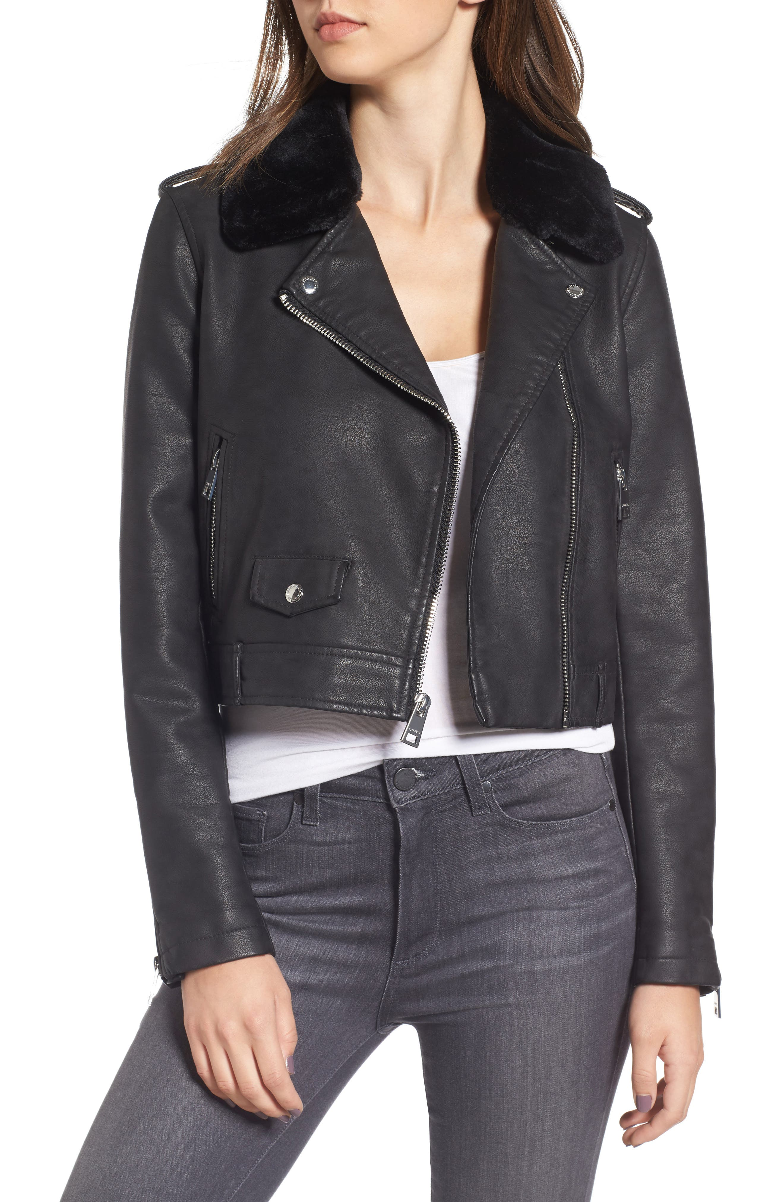 Levis<sup>®</sup> Sherpa Faux Leather Moto Jacket with Faux Fur Collar,                             Main thumbnail 1, color,                             Black