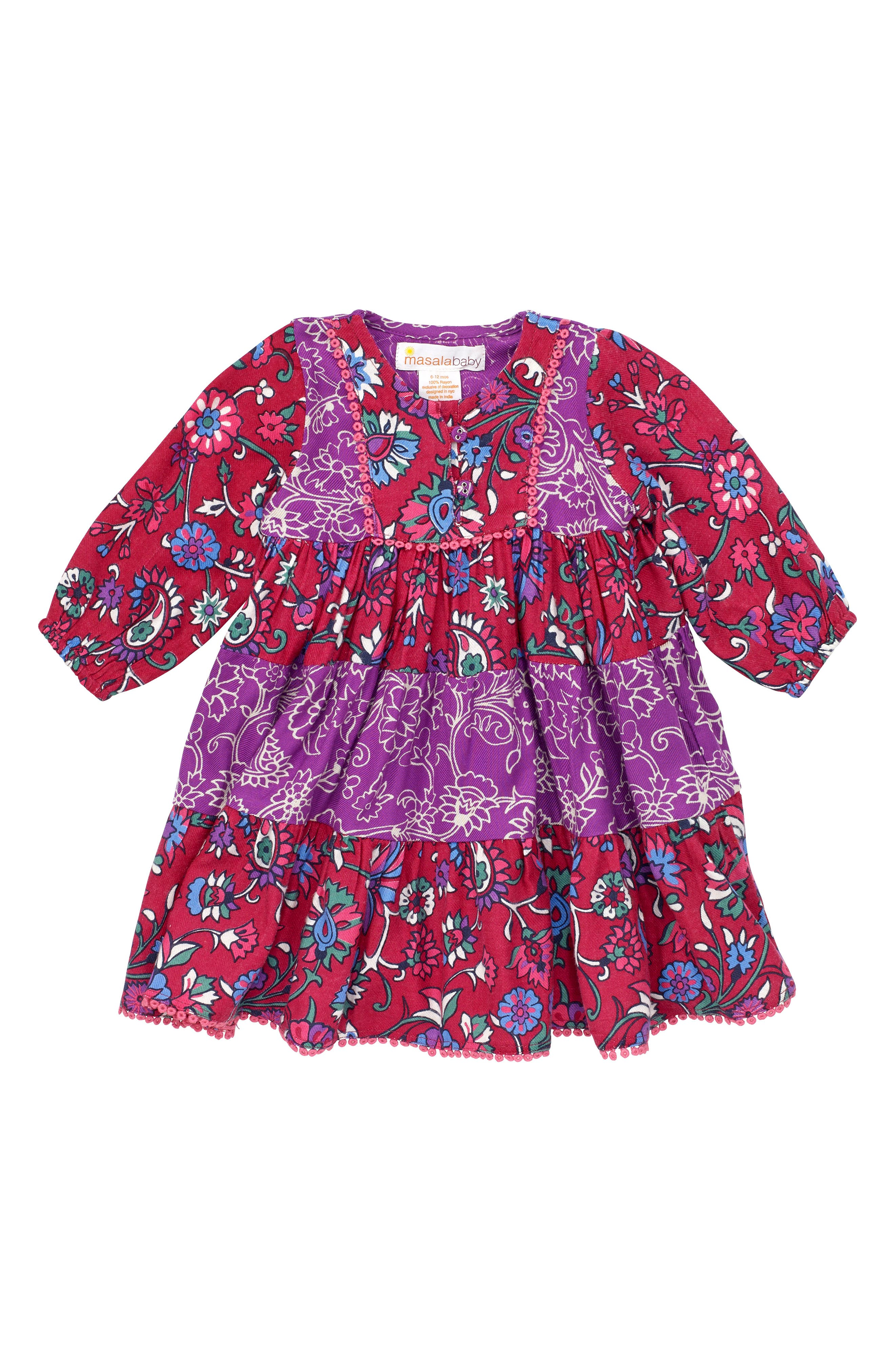 Tiered Floral Dress,                             Main thumbnail 1, color,                             Multi