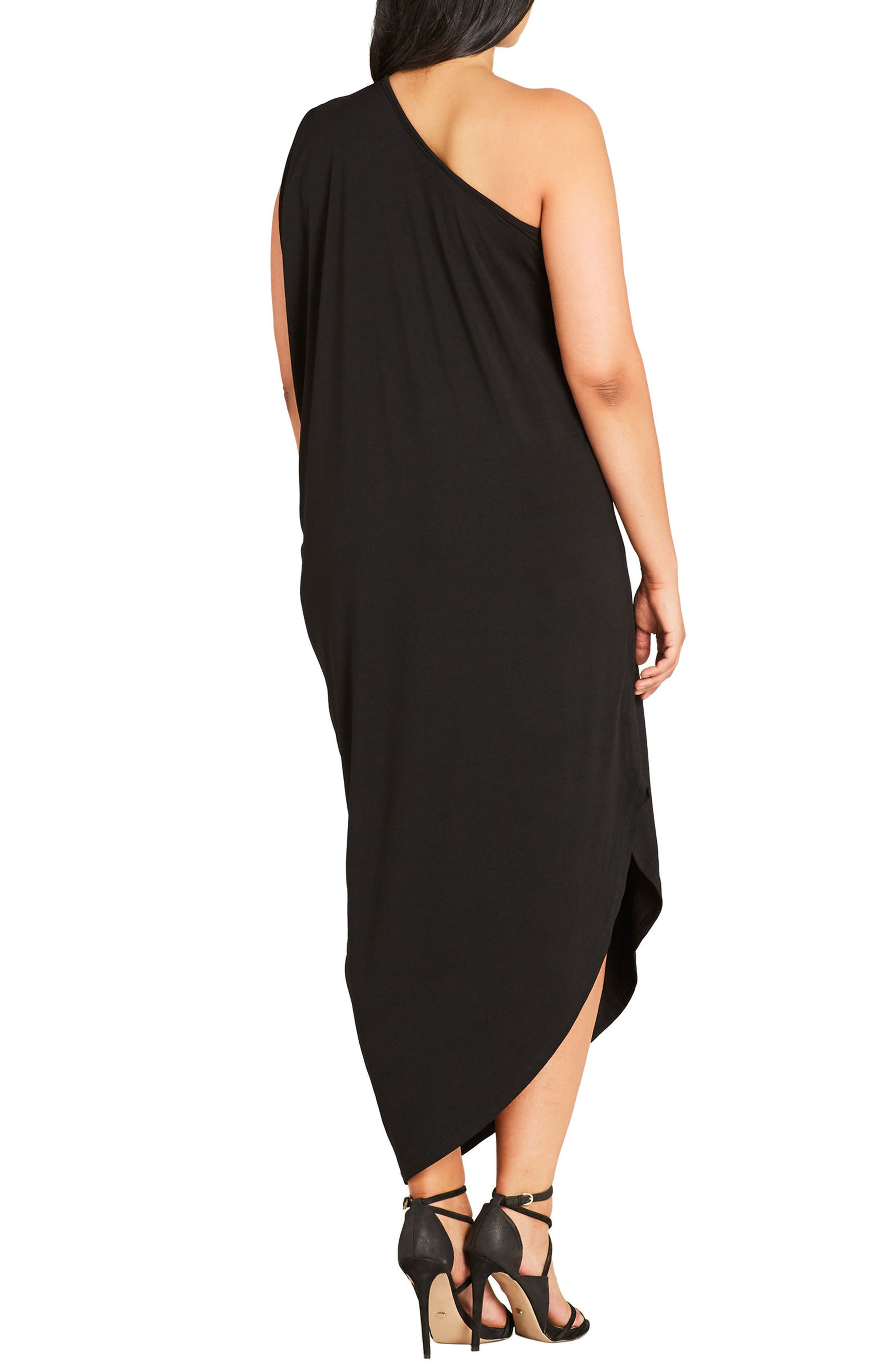 Alternate Image 2  - City Chic Shimmer Palm One-Shoulder Maxi Dress (Plus Size)