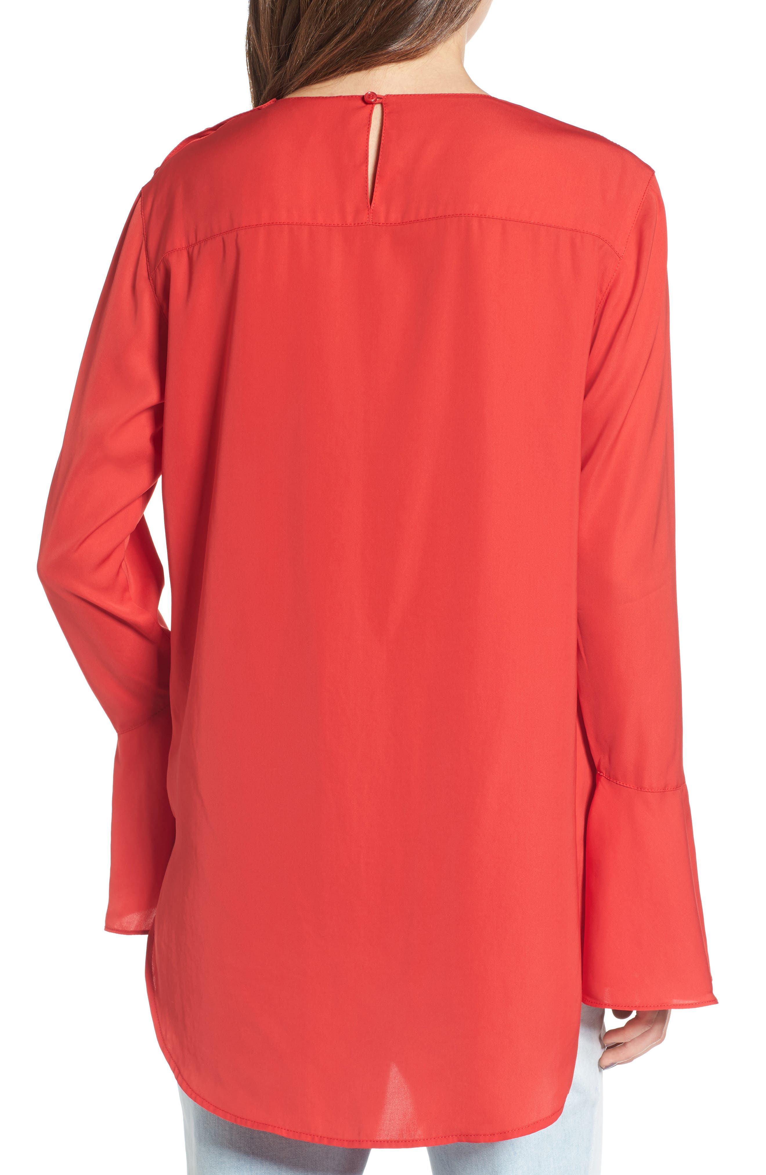 Bell Sleeve Top,                             Alternate thumbnail 2, color,                             Red Ribbon