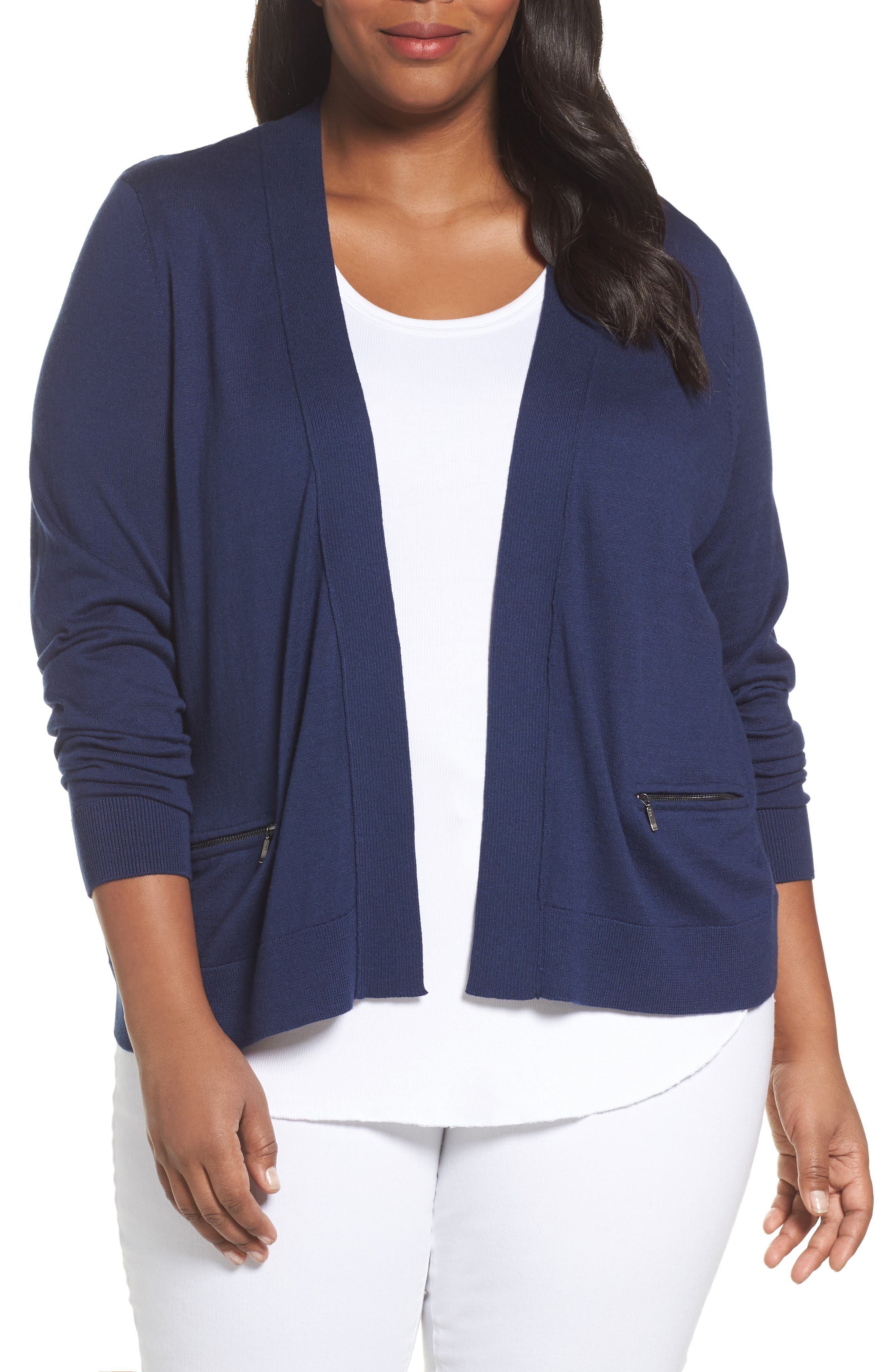 Alternate Image 1 Selected - Sejour Crop Open Front Cardigan (Plus Size)