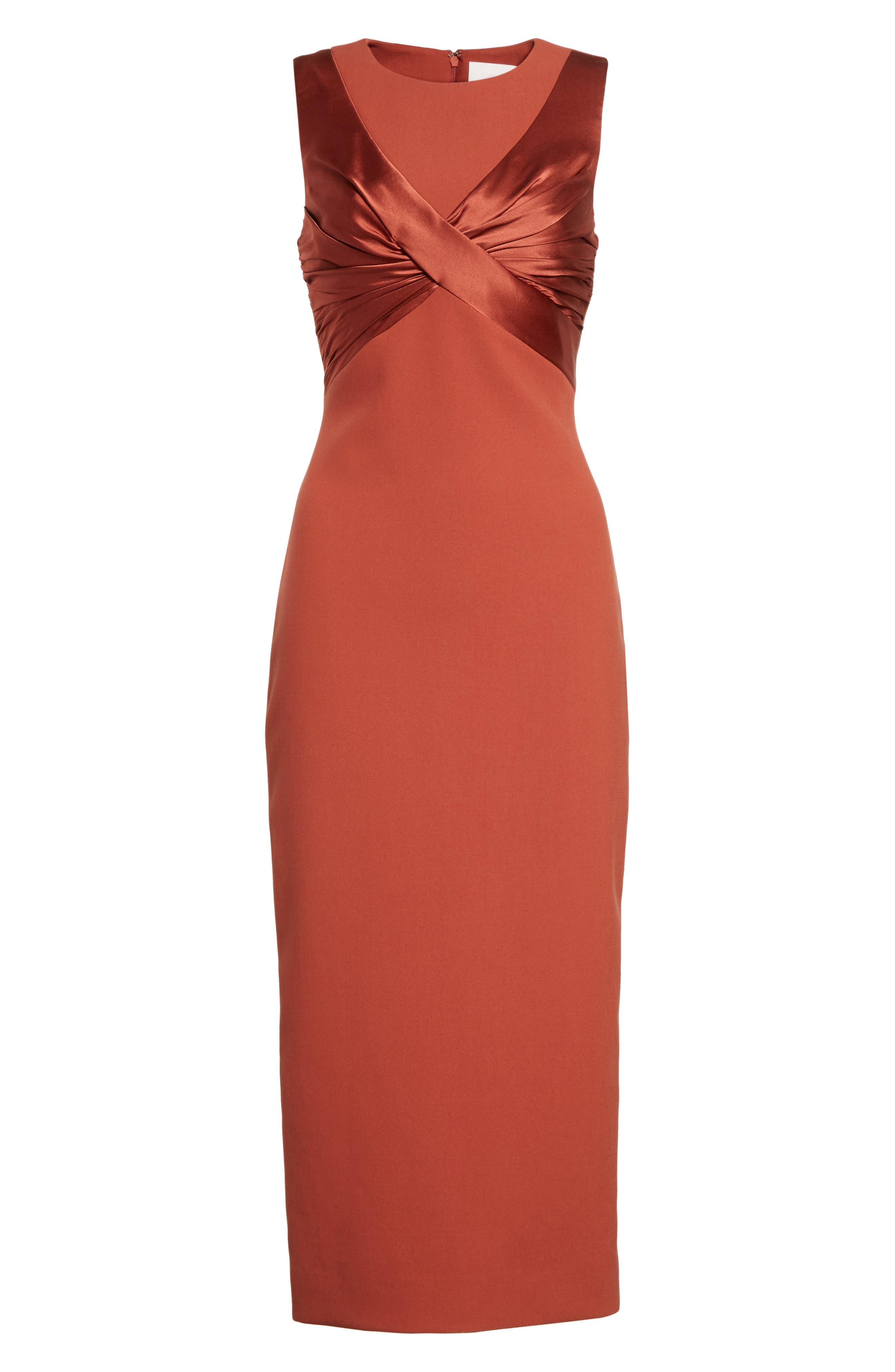 Adelise Crossover Sleeveless Sheath Dress,                             Alternate thumbnail 6, color,                             Tobacco