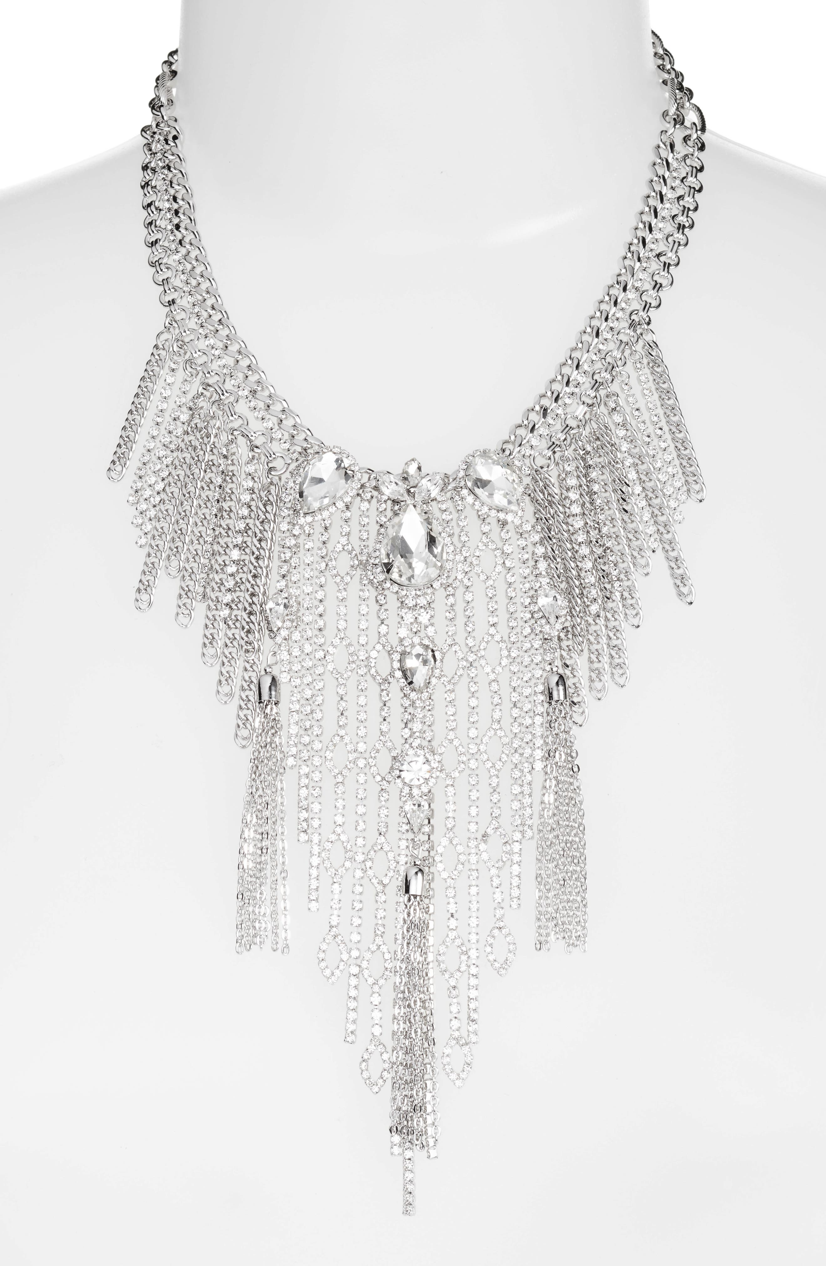Chain Fringe Necklace,                             Alternate thumbnail 2, color,                             Silver
