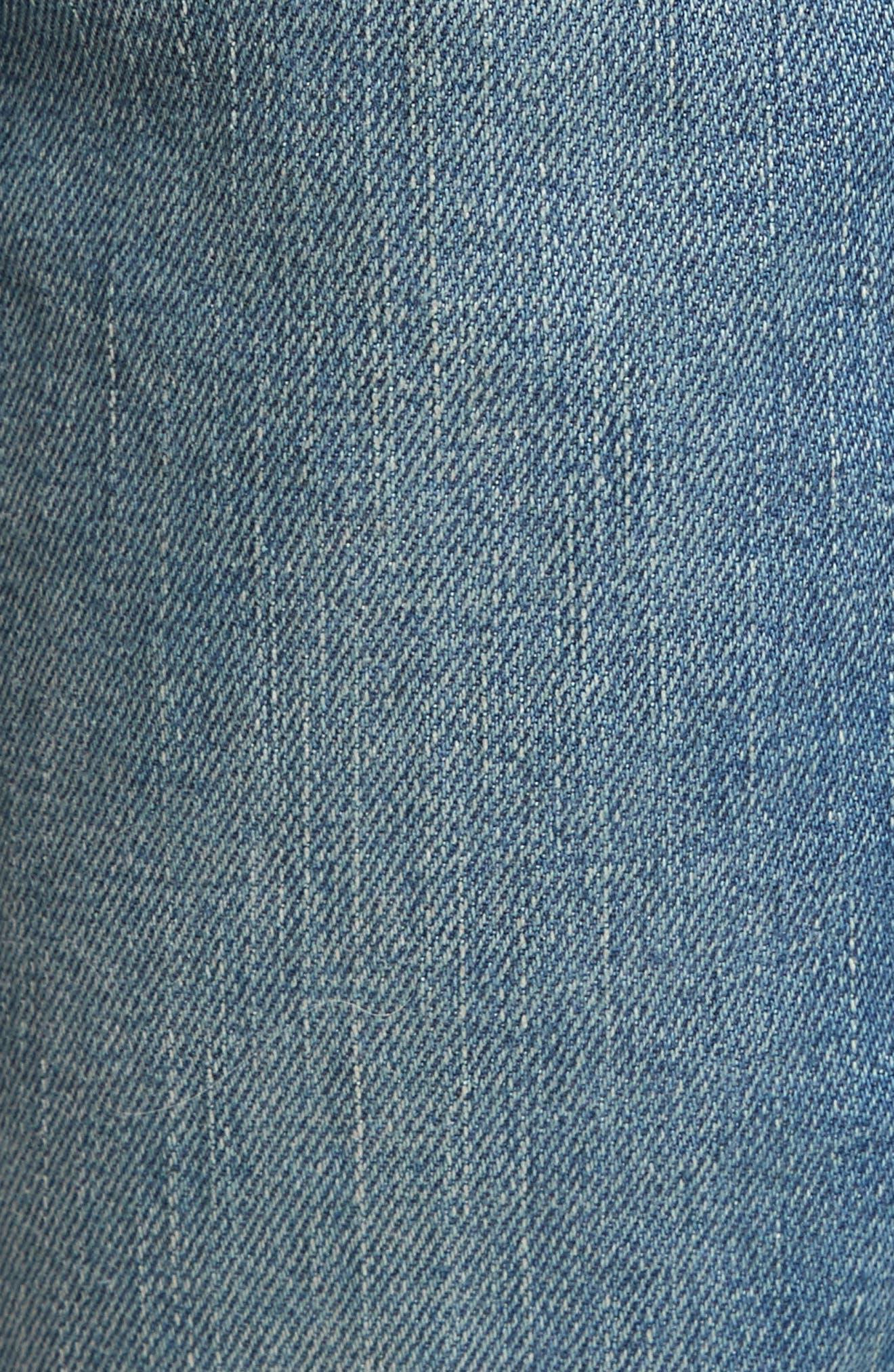 Zip Detail Biker Jeans,                             Alternate thumbnail 5, color,                             Light Blue