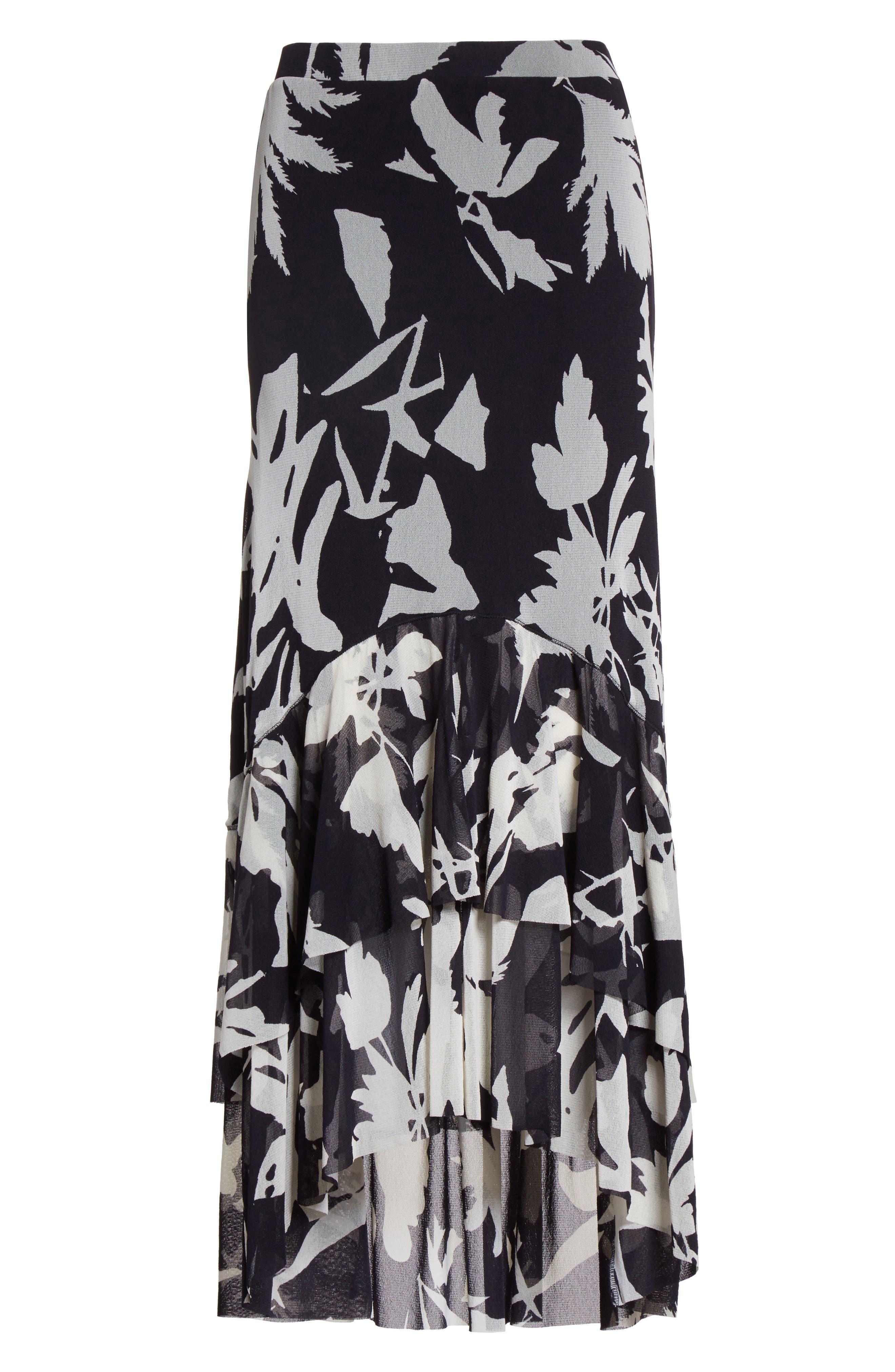 Floral Print Tulle Ruffle Skirt,                             Alternate thumbnail 4, color,                             Black/ White