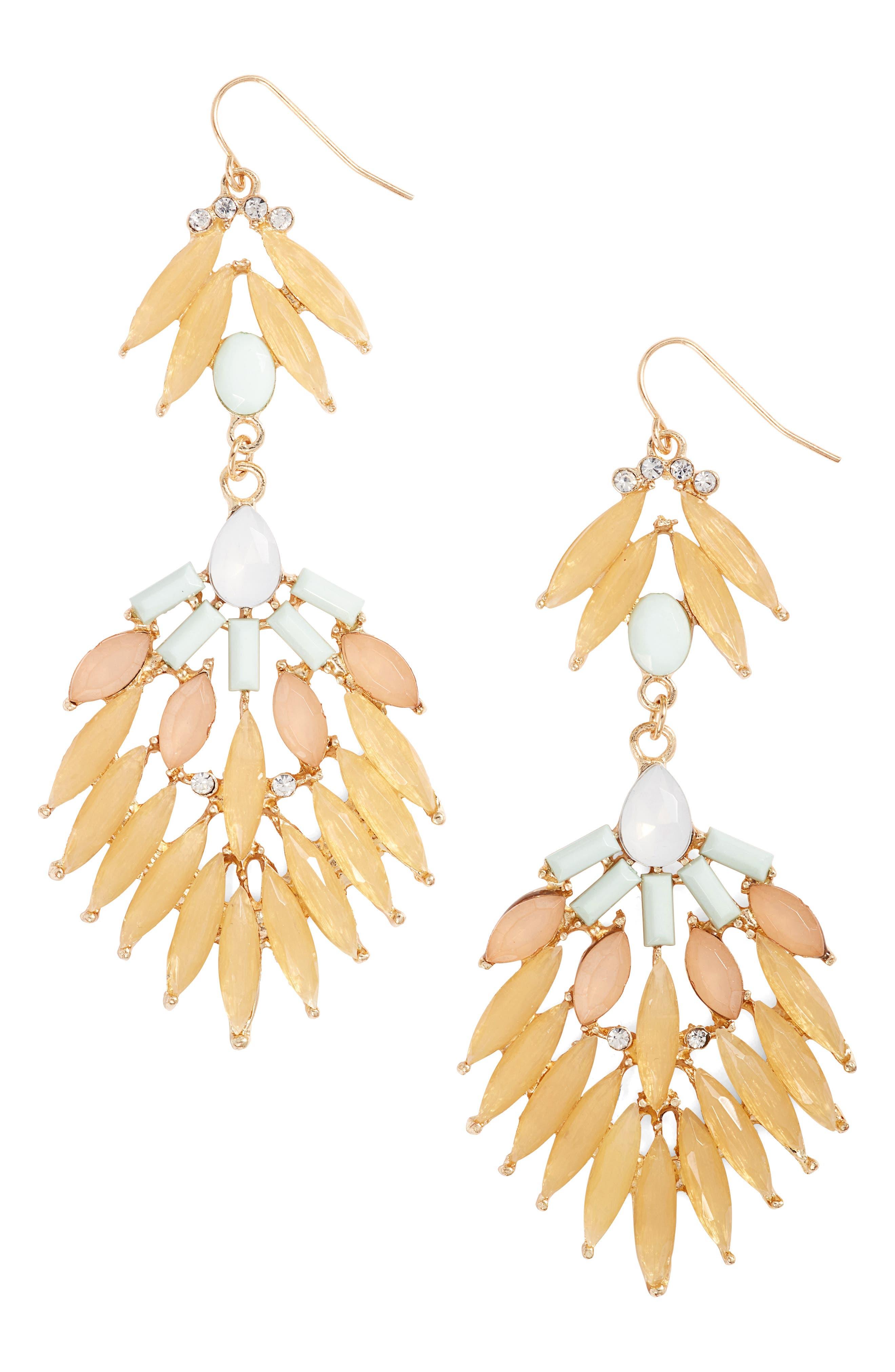 Stone Fan Drop Earrings,                         Main,                         color, Beige
