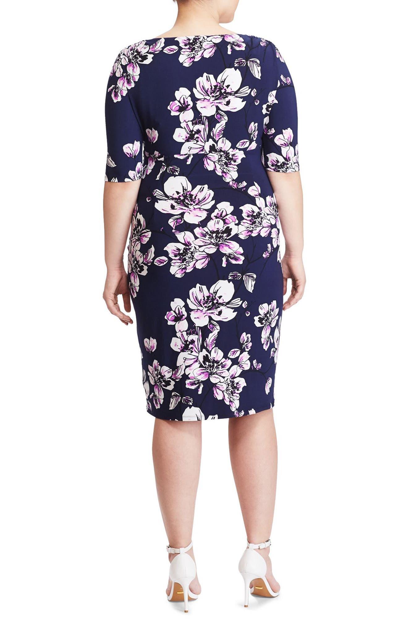 Alternate Image 2  - Lauren Ralph Lauren Floral Print Faux Wrap Dress (Plus Size)