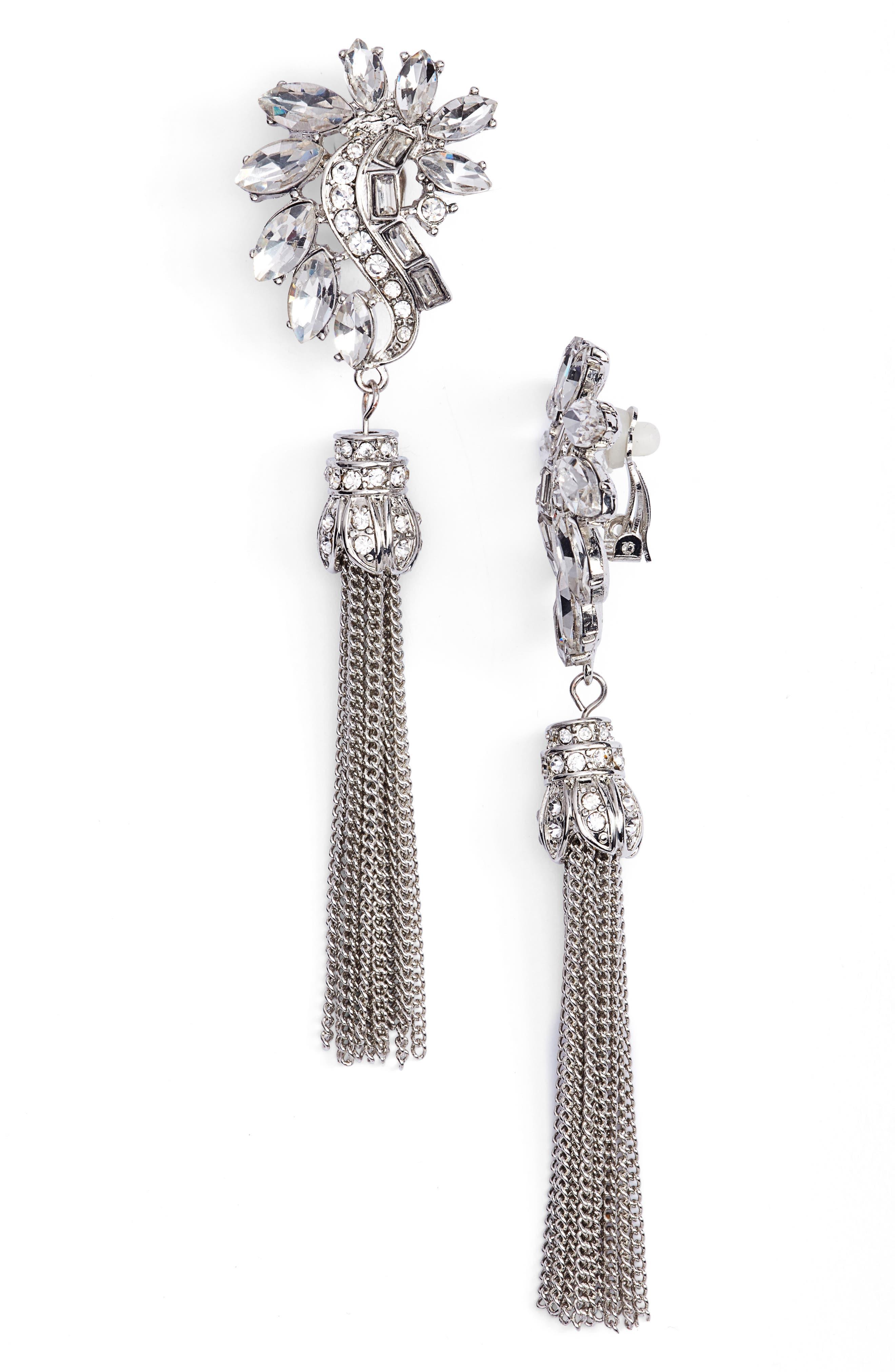 Crystal & Chain Tassel Earrings,                         Main,                         color, Clear