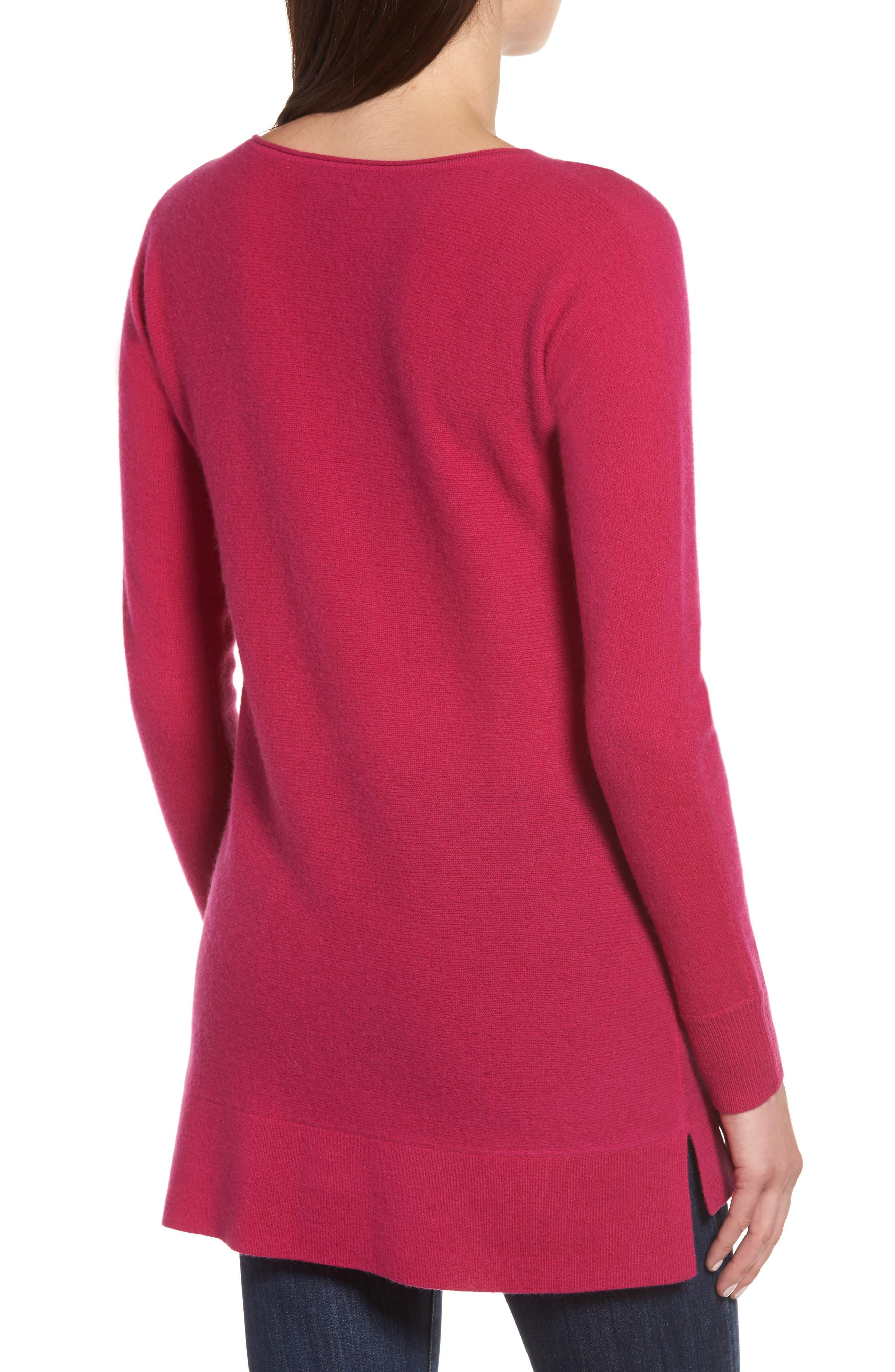 Alternate Image 2  - Halogen® High/Low Wool & Cashmere Tunic Sweater (Regular & Petite)