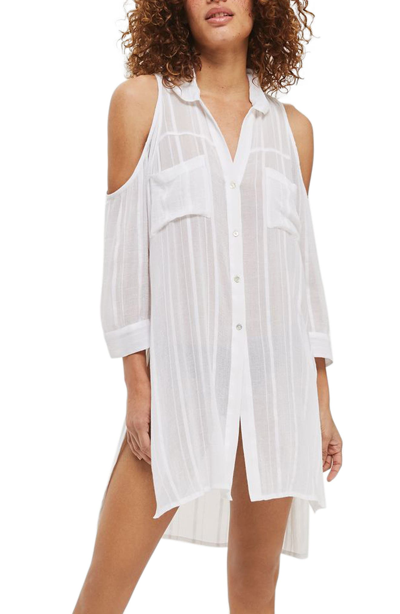 Topshop Jacquard Cold Shoulder Cover-Up