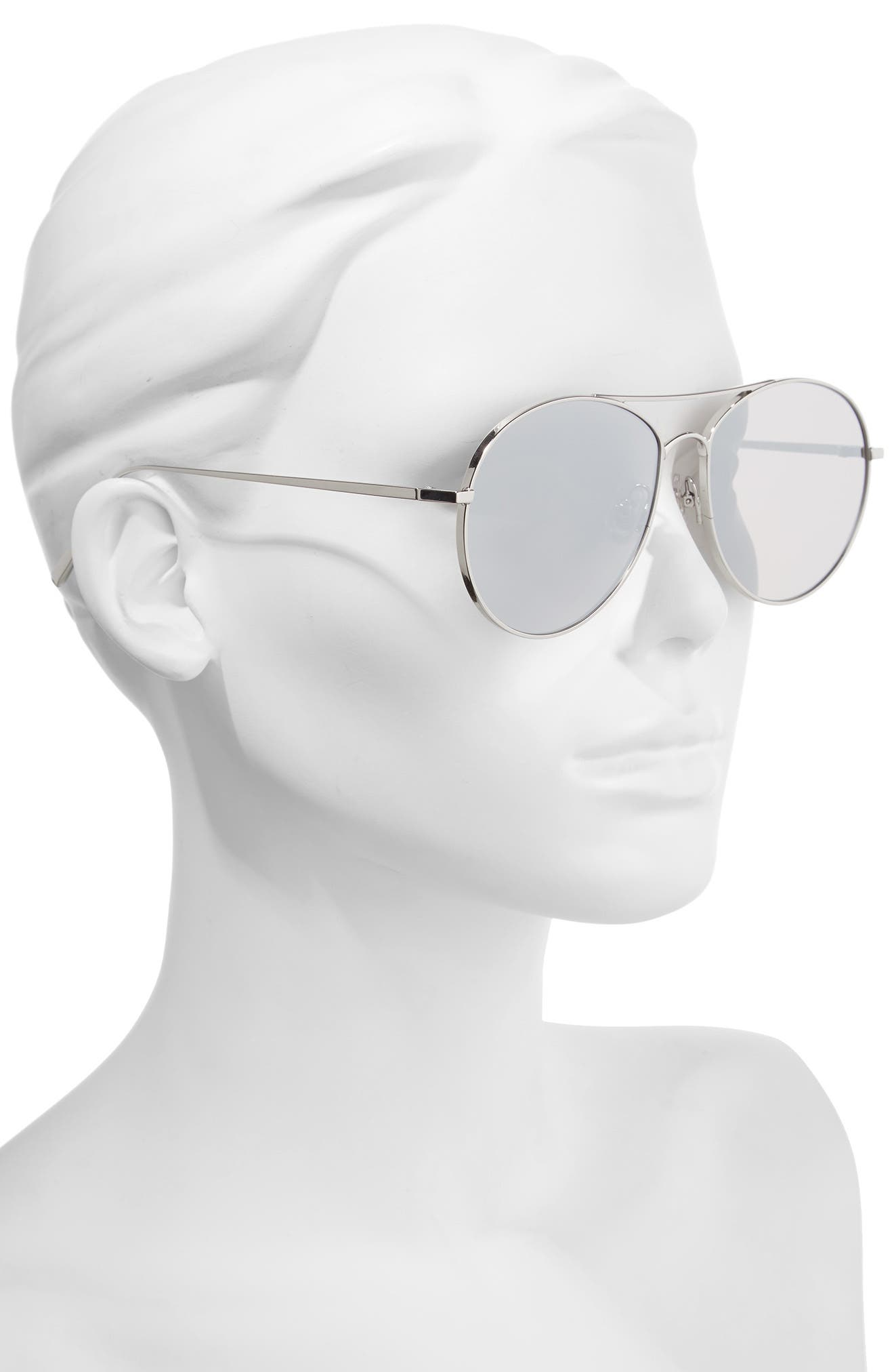 Ranny Ring 58mm Aviator Sunglasses,                             Alternate thumbnail 2, color,                             Silver Mirror