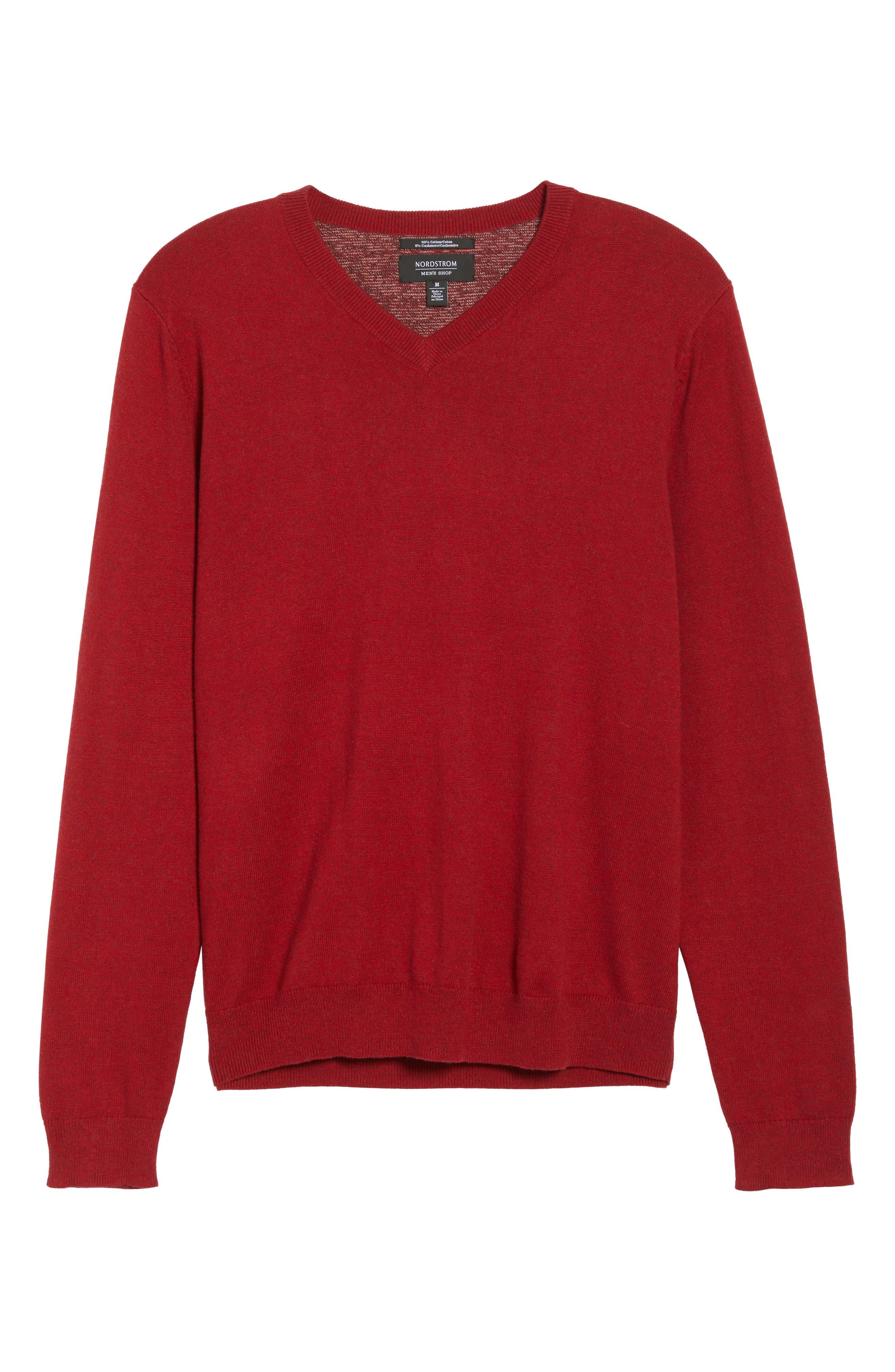 Alternate Image 6  - Nordstrom Men's Shop Cotton & Cashmere V-Neck Sweater (Regular & Tall)