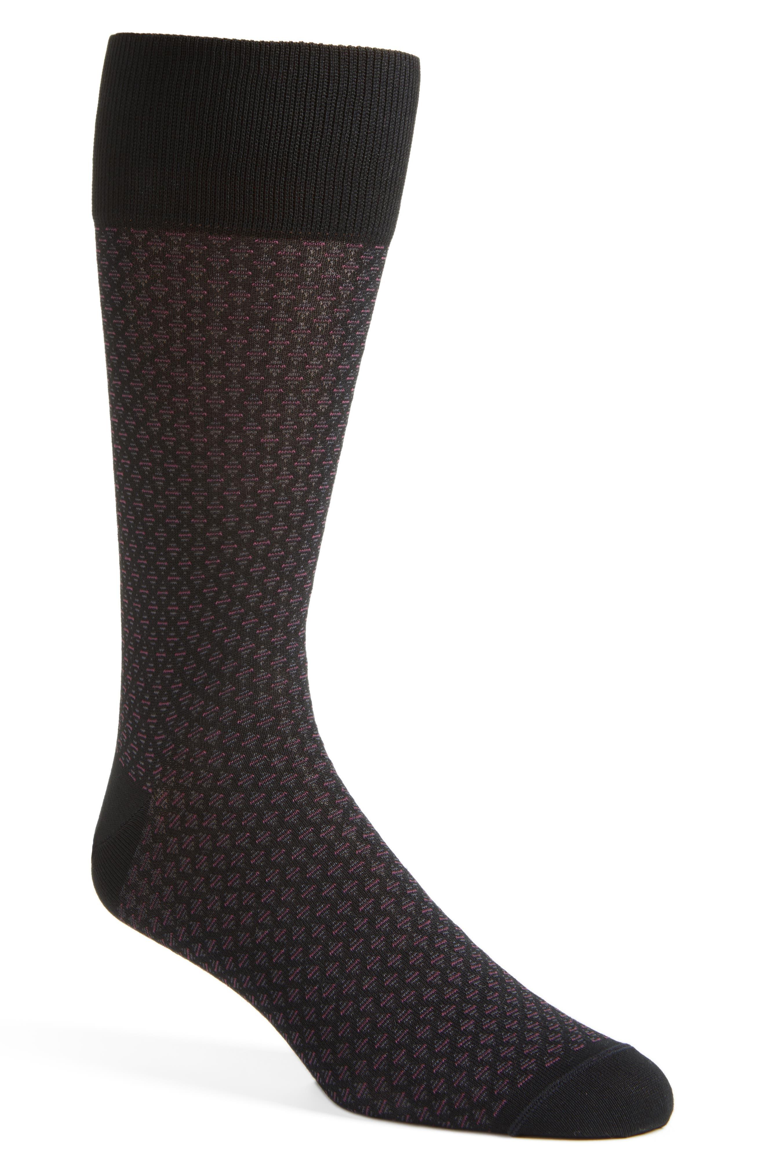 Main Image - John W. Nordstrom® Over the Calf Neat Diamond Socks (3 for $48)