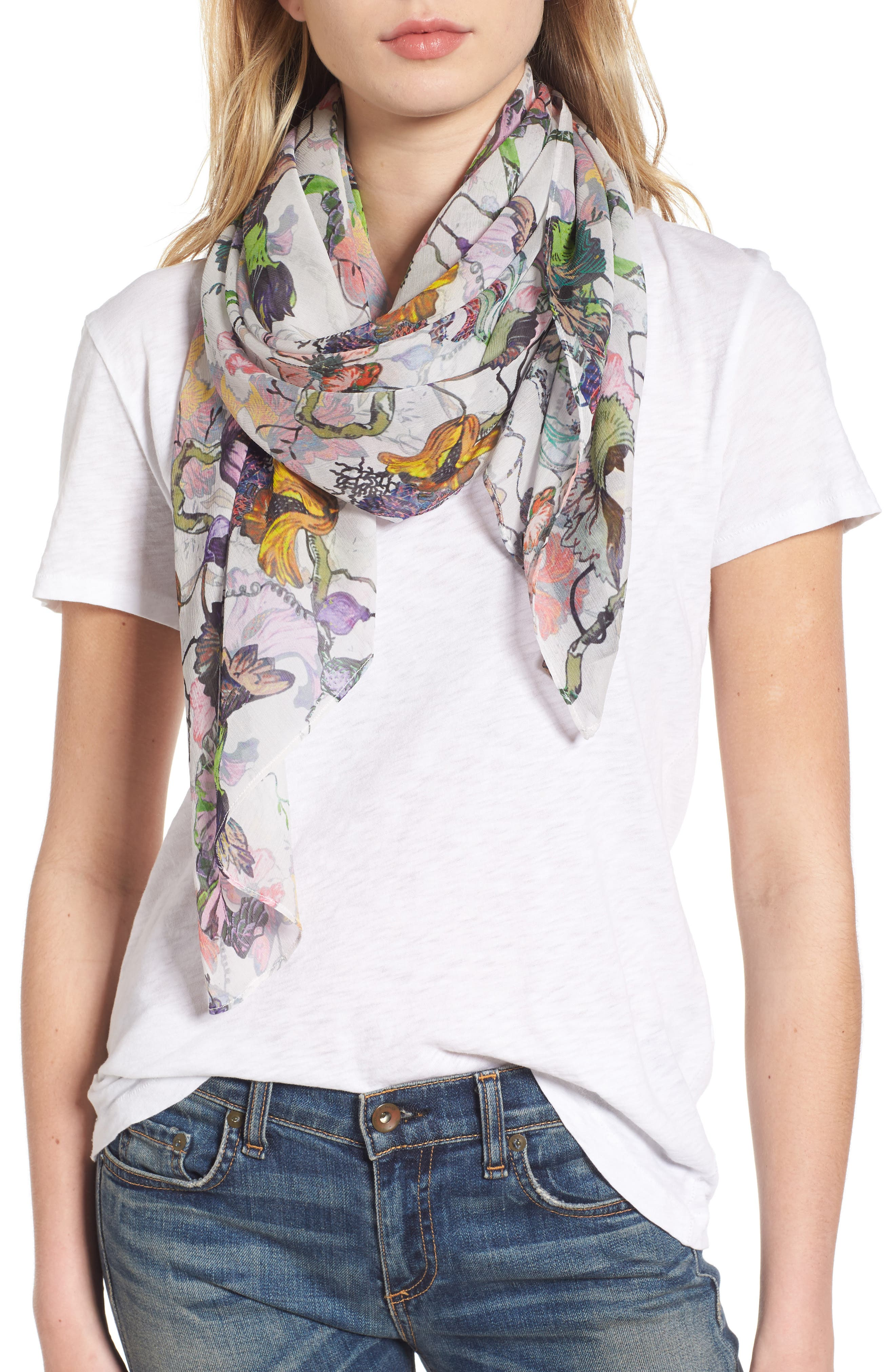 rag & bone Floral Camo Chiffon Silk Scarf