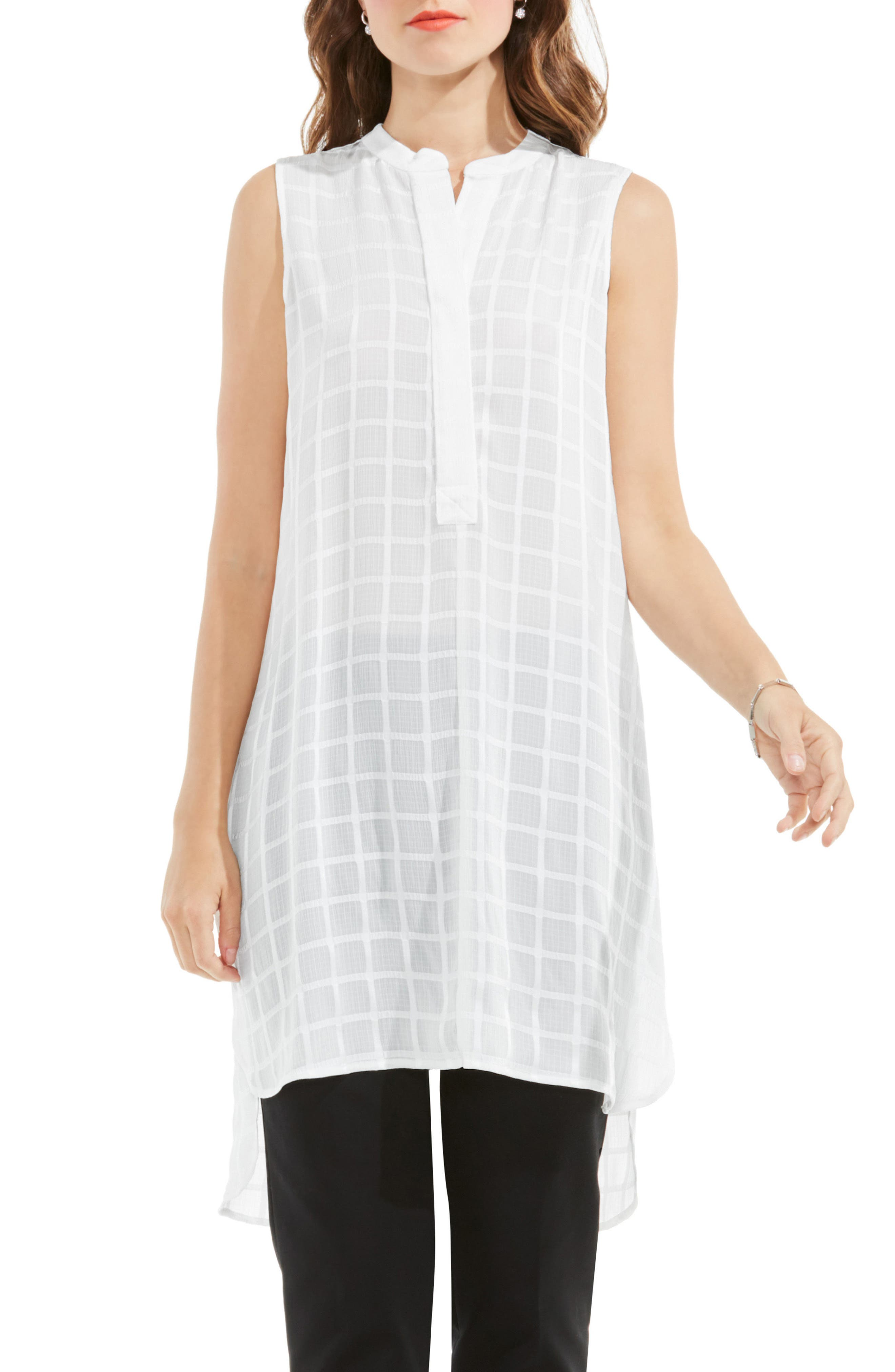 Alternate Image 1 Selected - Vince Camuto Check Split Neck Tunic