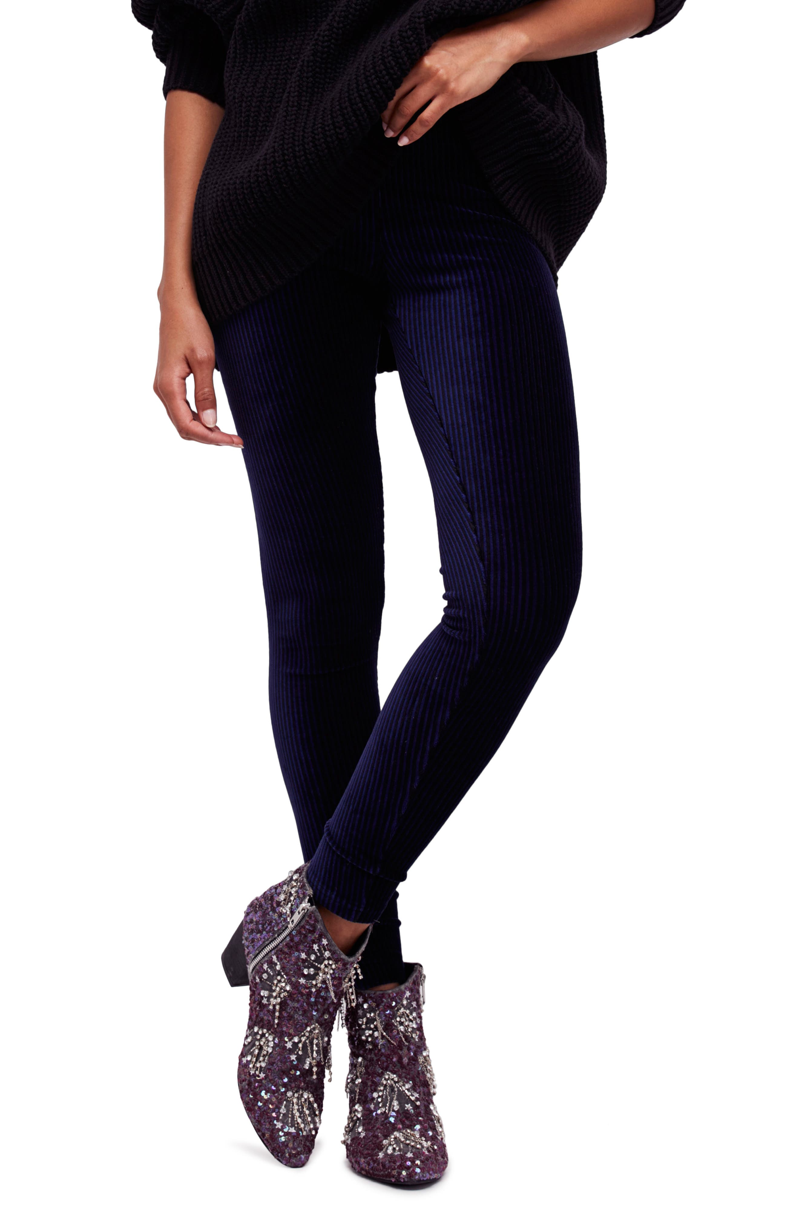 Alternate Image 1 Selected - Free People Here We Go High Waist Stripe Velvet Leggings