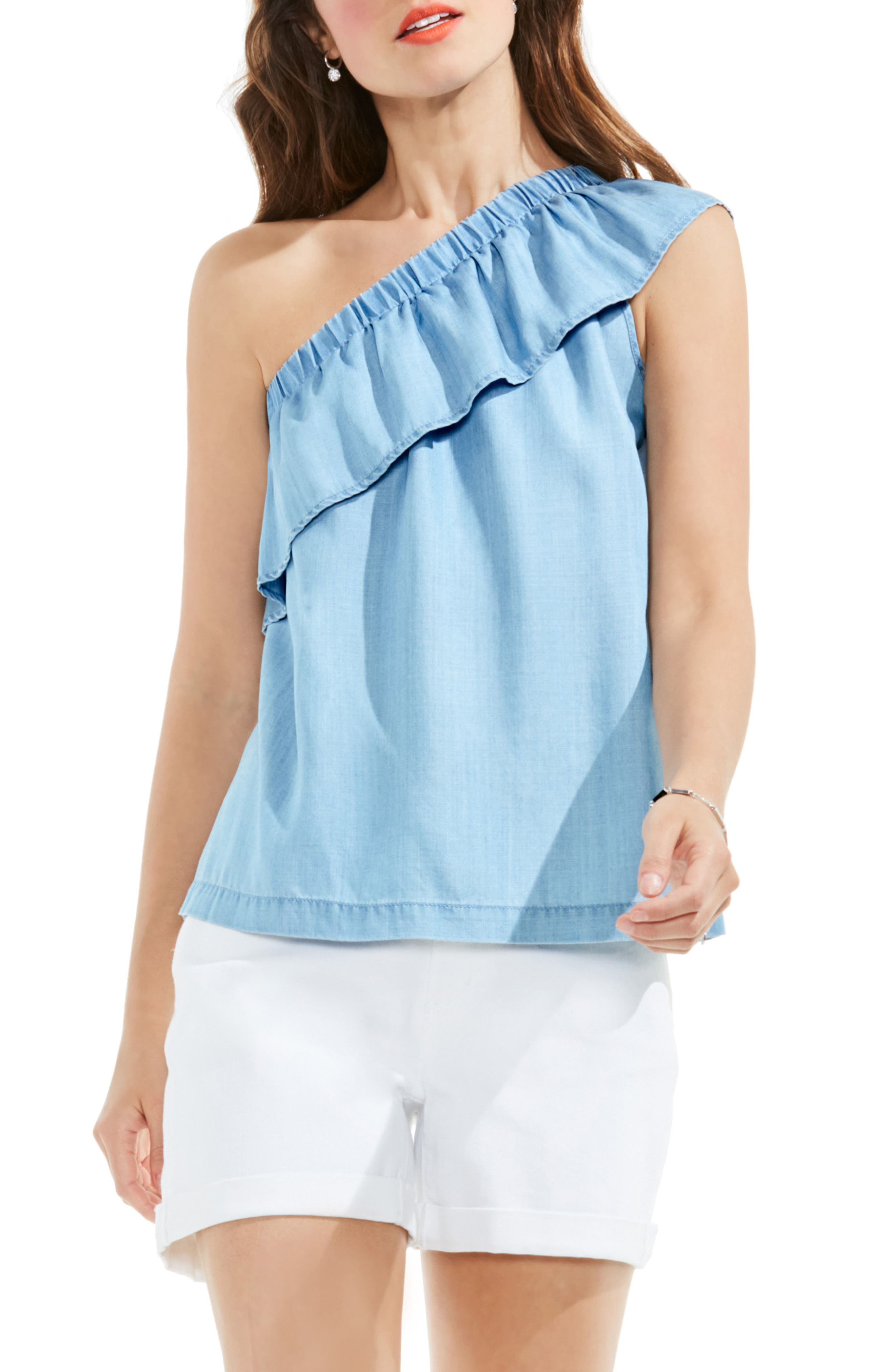 TWO BY VINCE CAMUTO Ruffled One-Shoulder Blouse
