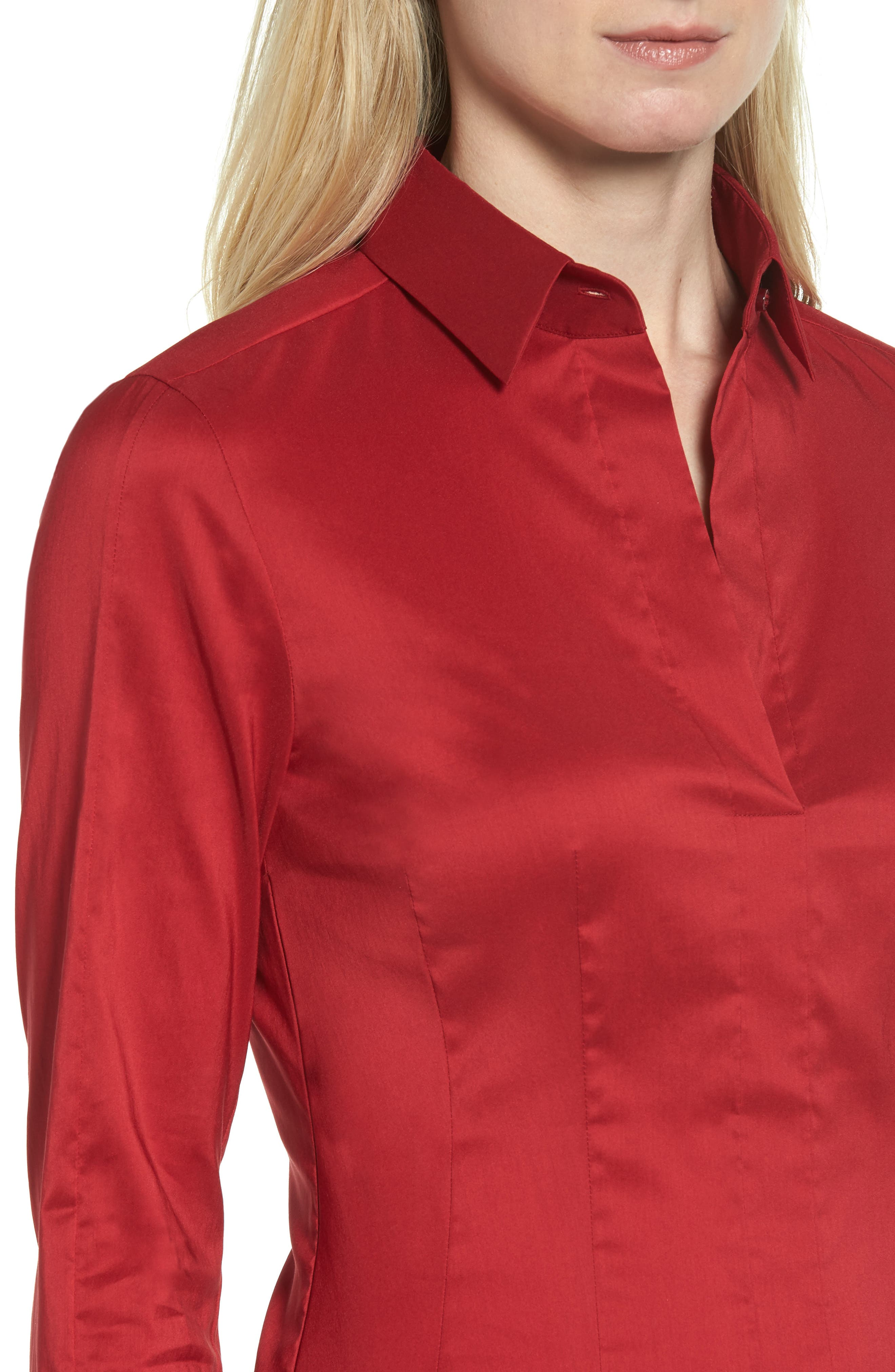 Alternate Image 4  - BOSS 'Bashina' Stretch Poplin Shirt (Regular & Petite)