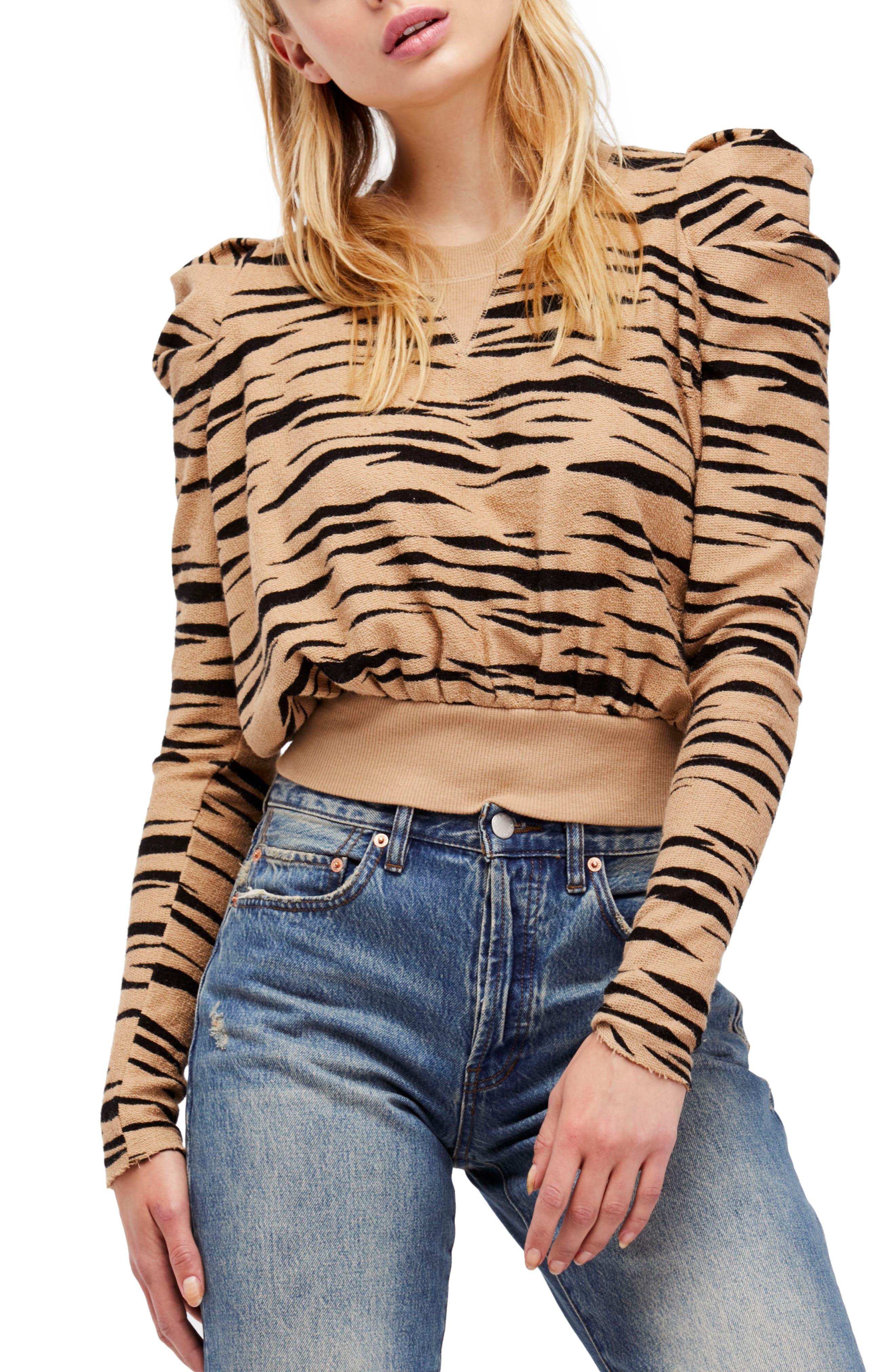 Free People Zaza Zebra Pullover