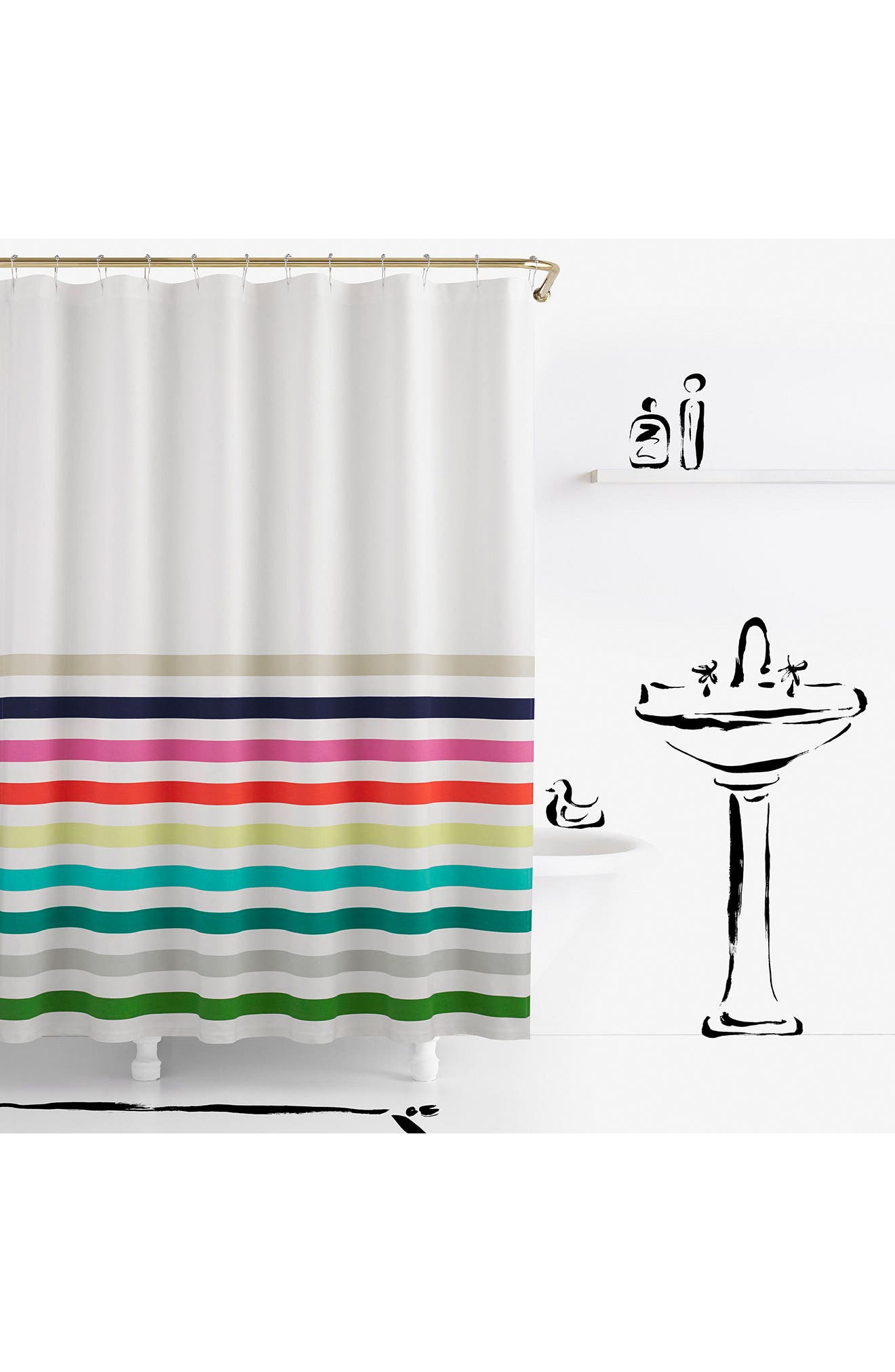 candy stripe shower curtain,                         Main,                         color, White Multi