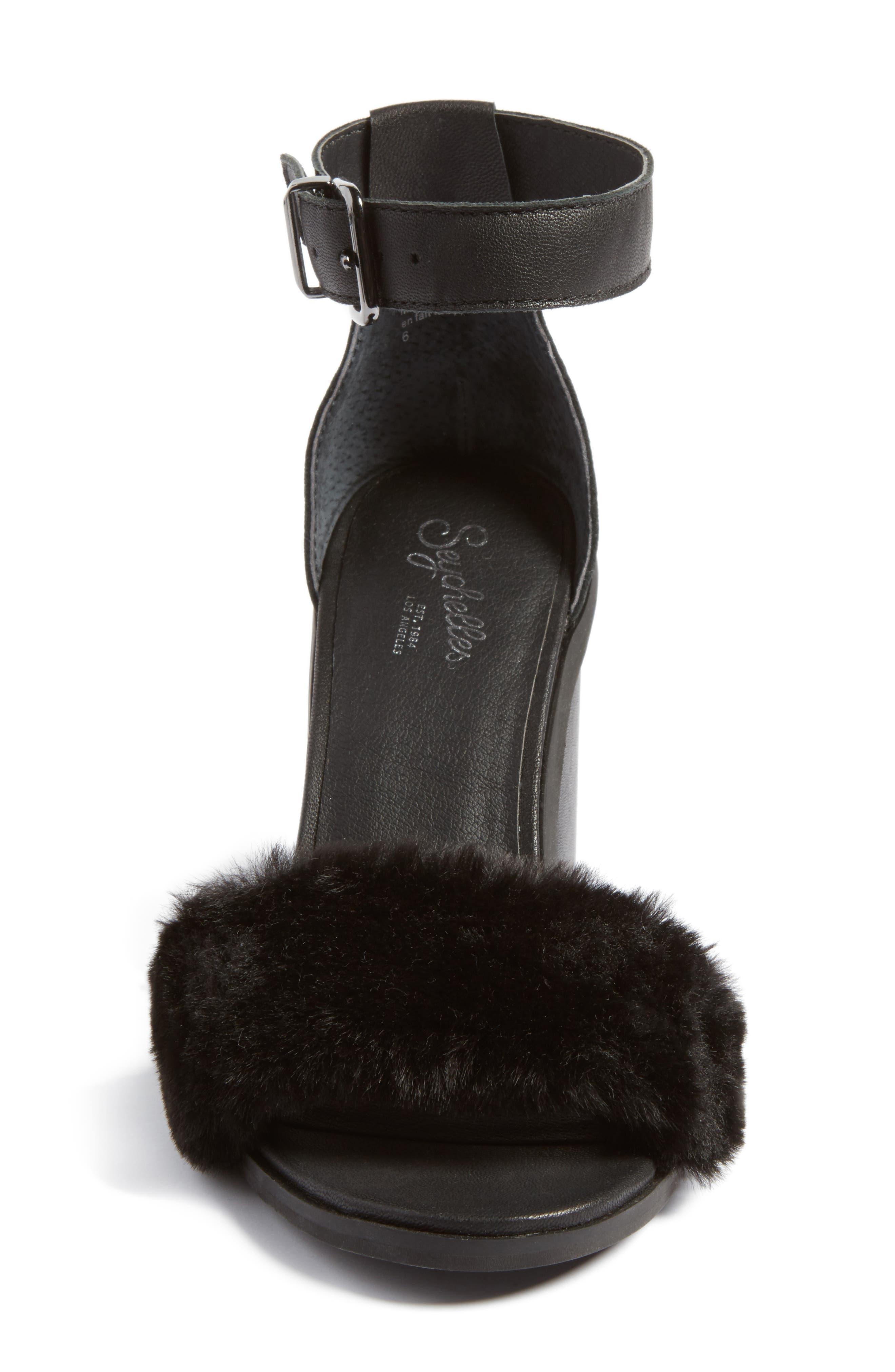 Faux Fur Ankle Strap Sandal,                             Alternate thumbnail 4, color,                             Black Faux Fur Leather