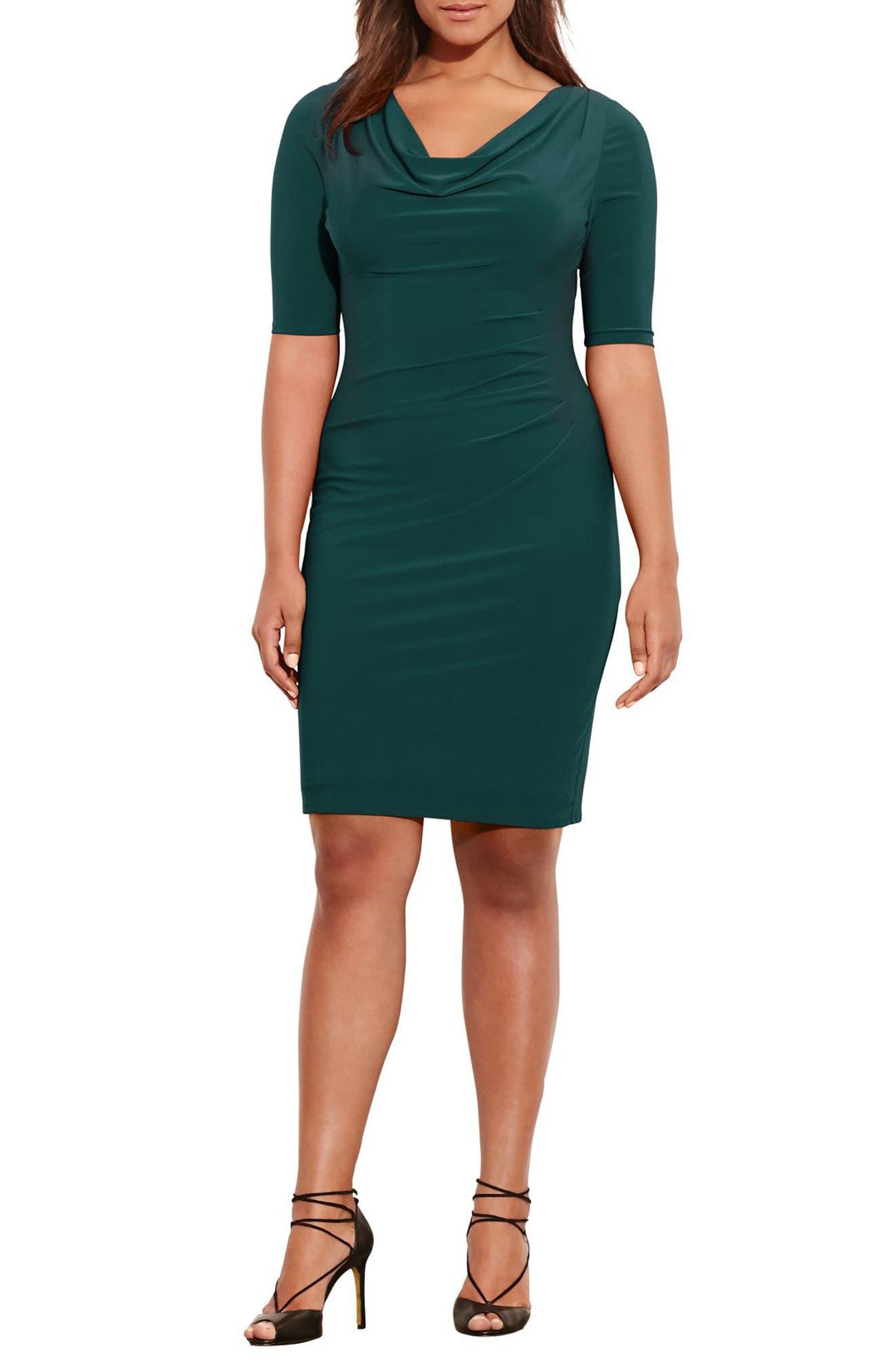 Main Image - Lauren Ralph Lauren Carleton Cowl Neck Jersey Dress (Plus Size)