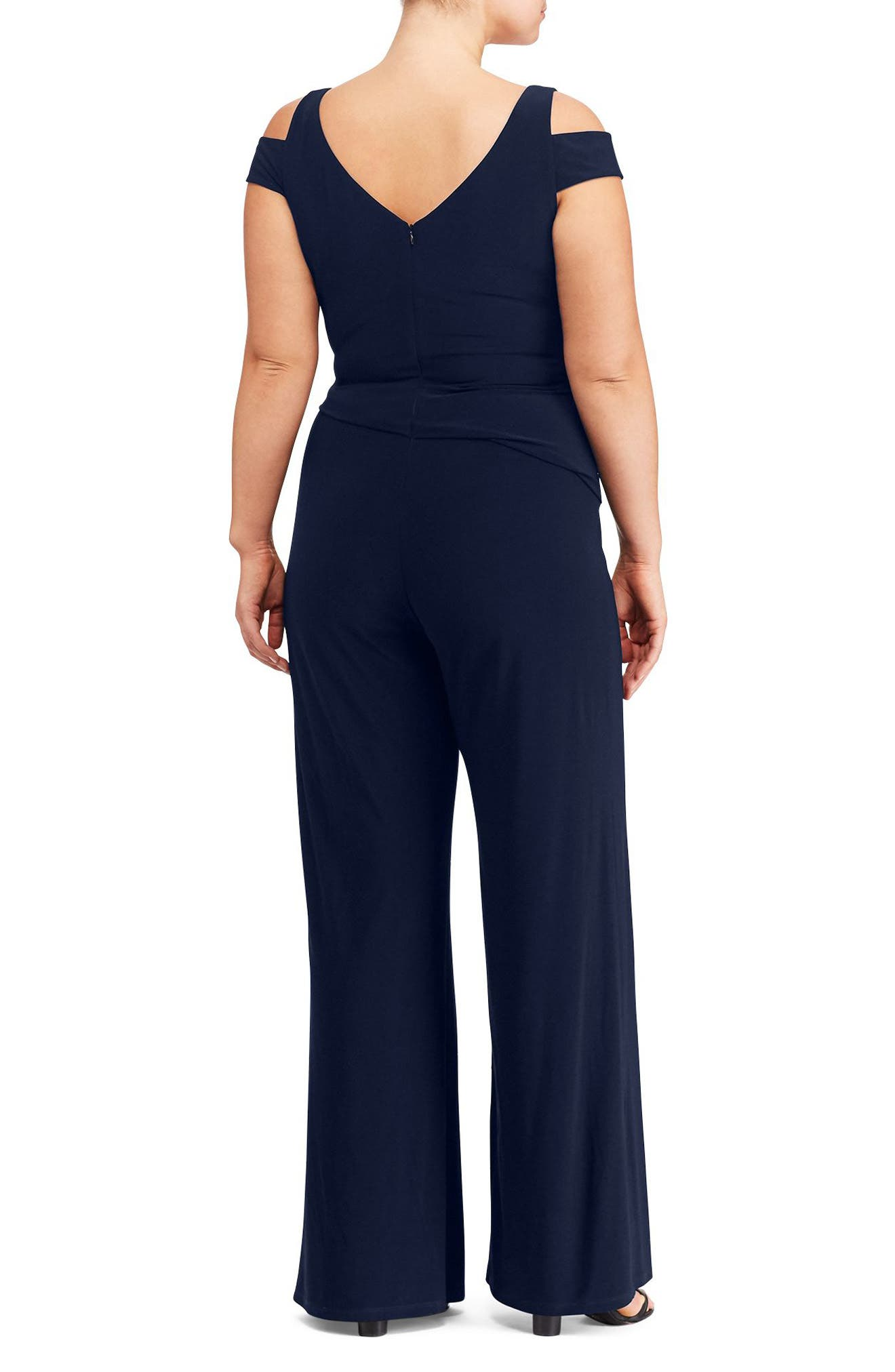 Alternate Image 2  - Lauren Ralph Lauren Cold Shoulder Jersey Jumpsuit (Plus Size)