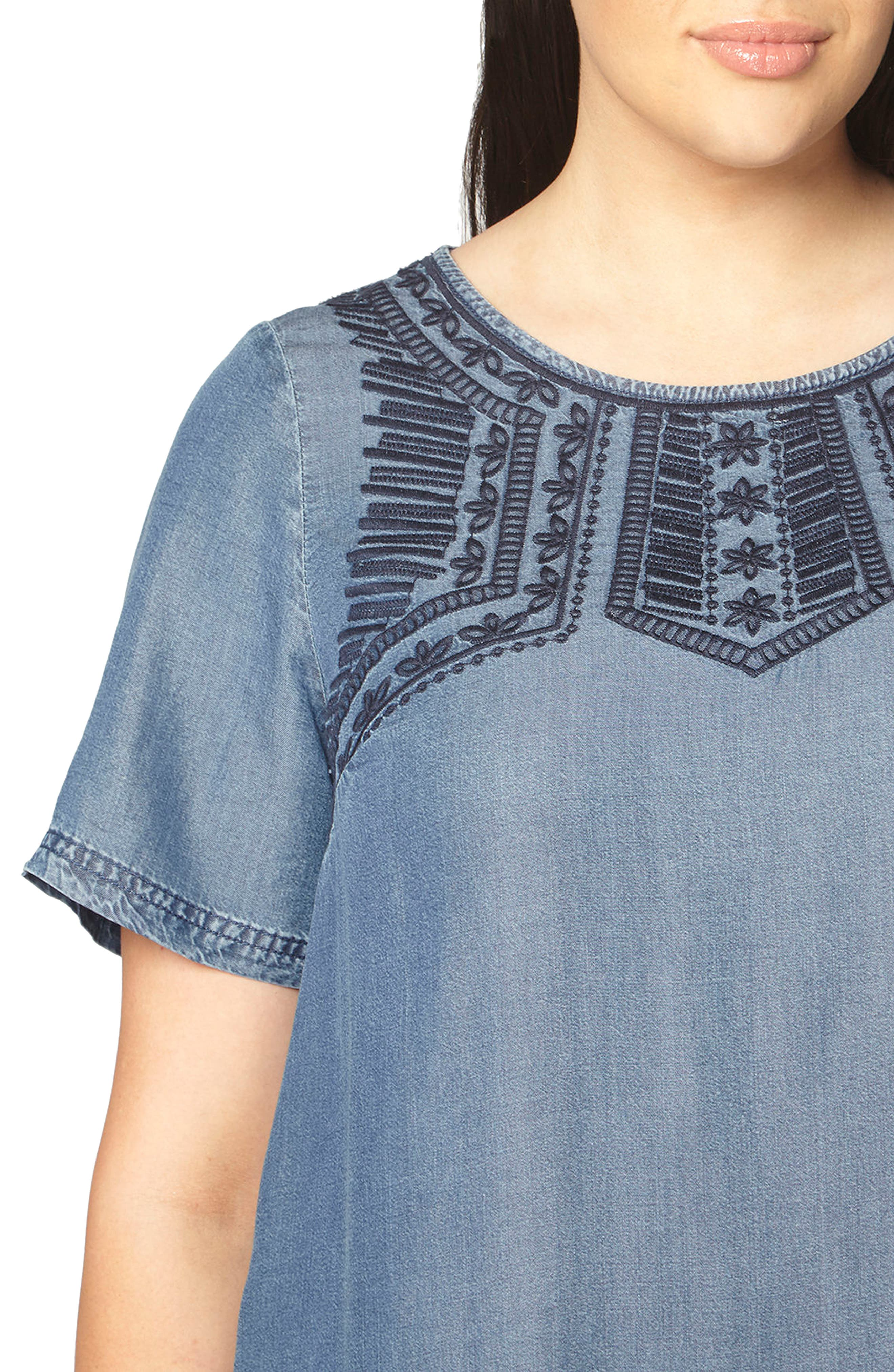 Embroidered Chambray Tunic Dress,                             Alternate thumbnail 4, color,                             Blue