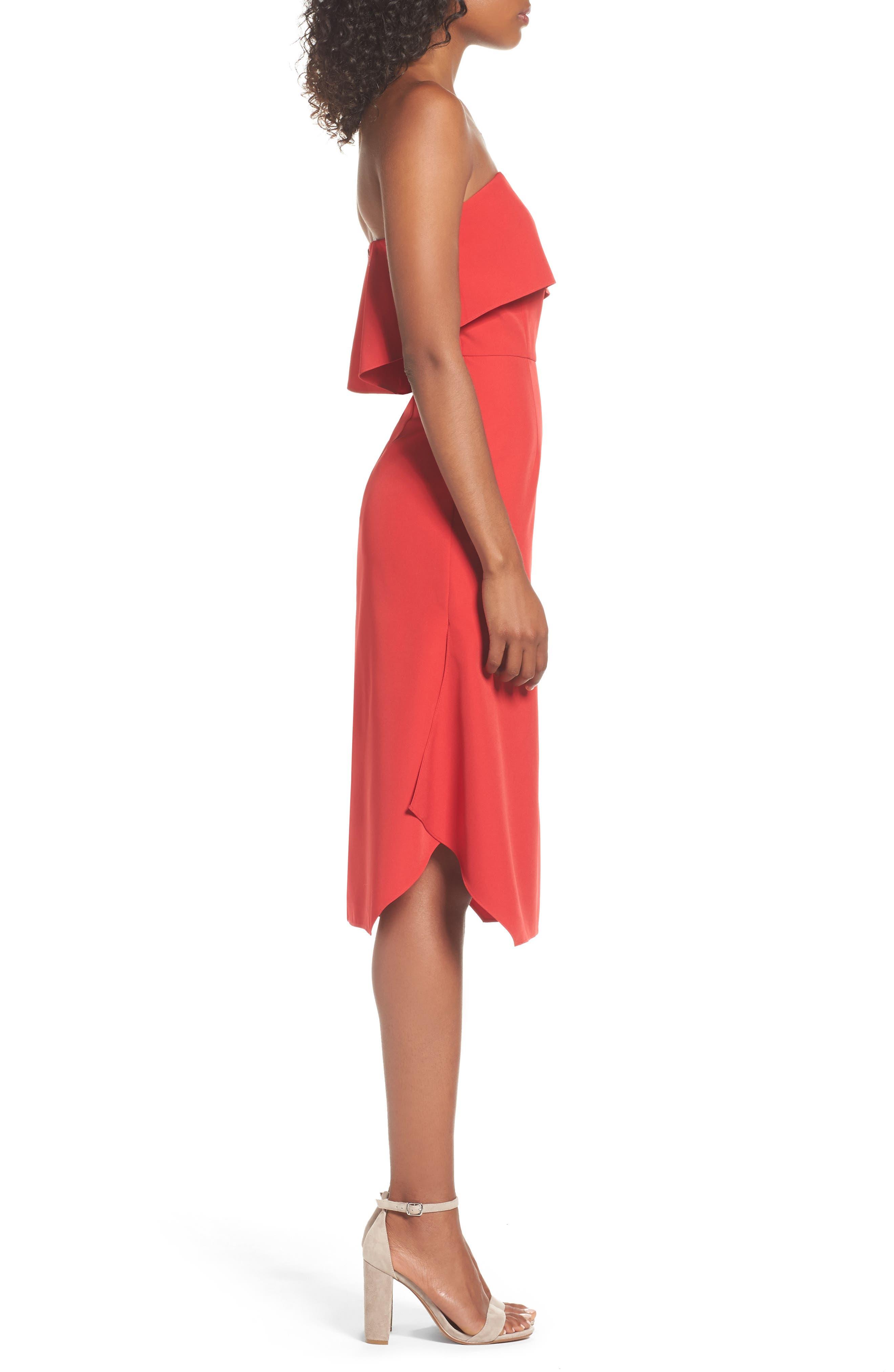 Aurora Rose Crepe Popover Dress,                             Alternate thumbnail 3, color,                             Red Barberry