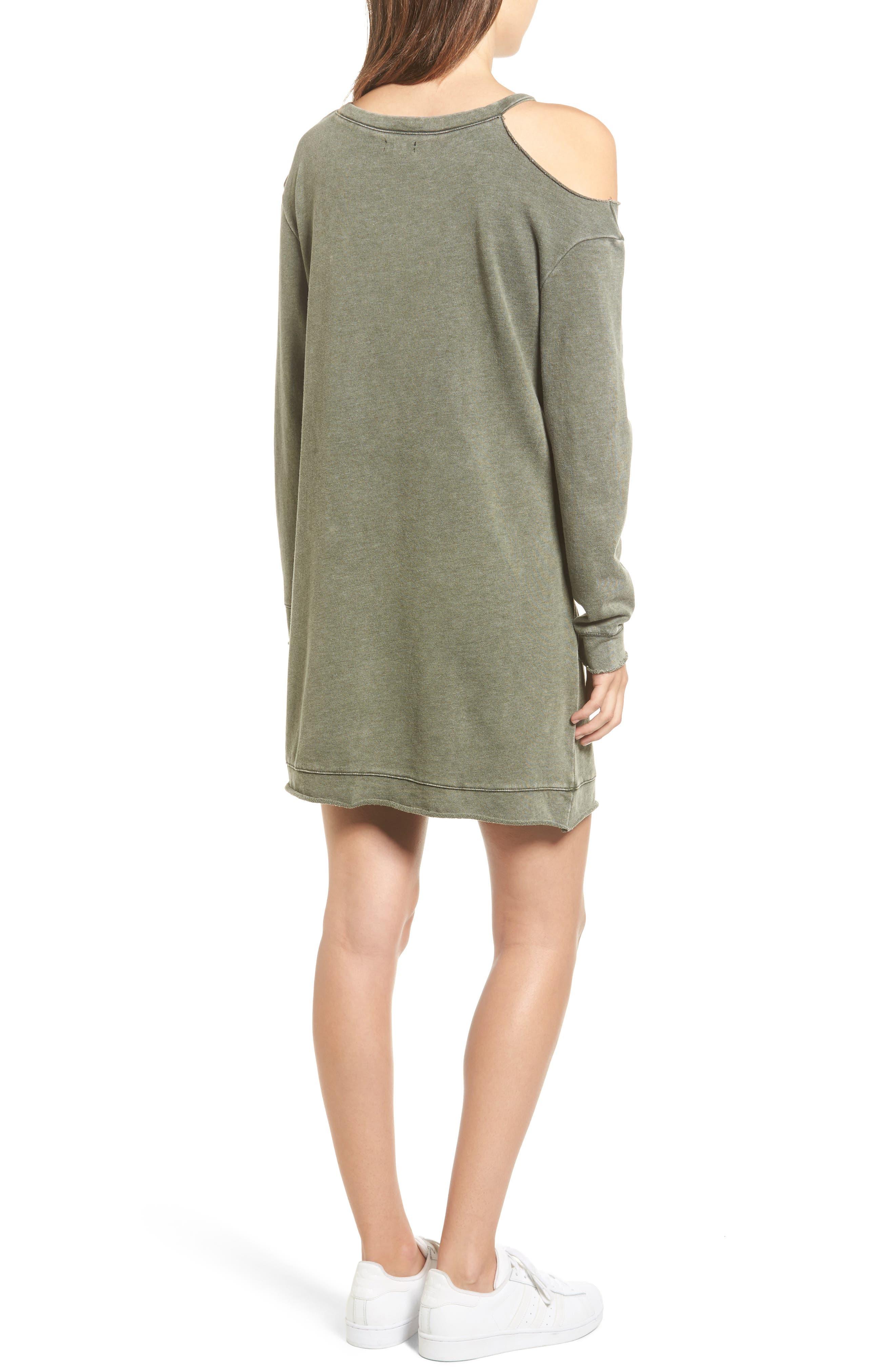 Ripped Sweatshirt Dress,                             Alternate thumbnail 2, color,                             Olive Dark