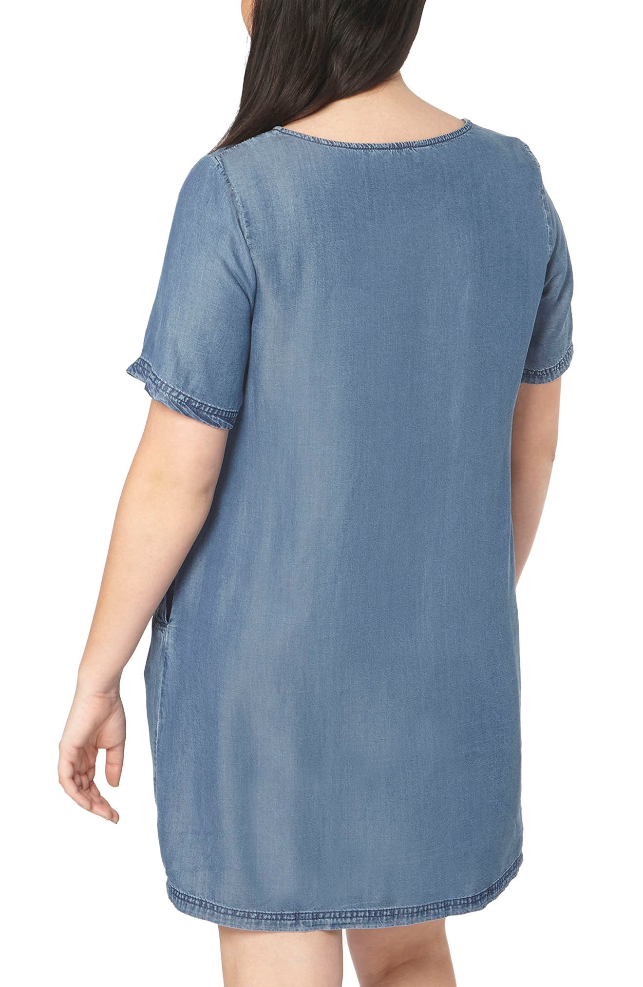 Embroidered Chambray Tunic Dress,                             Alternate thumbnail 2, color,                             Blue