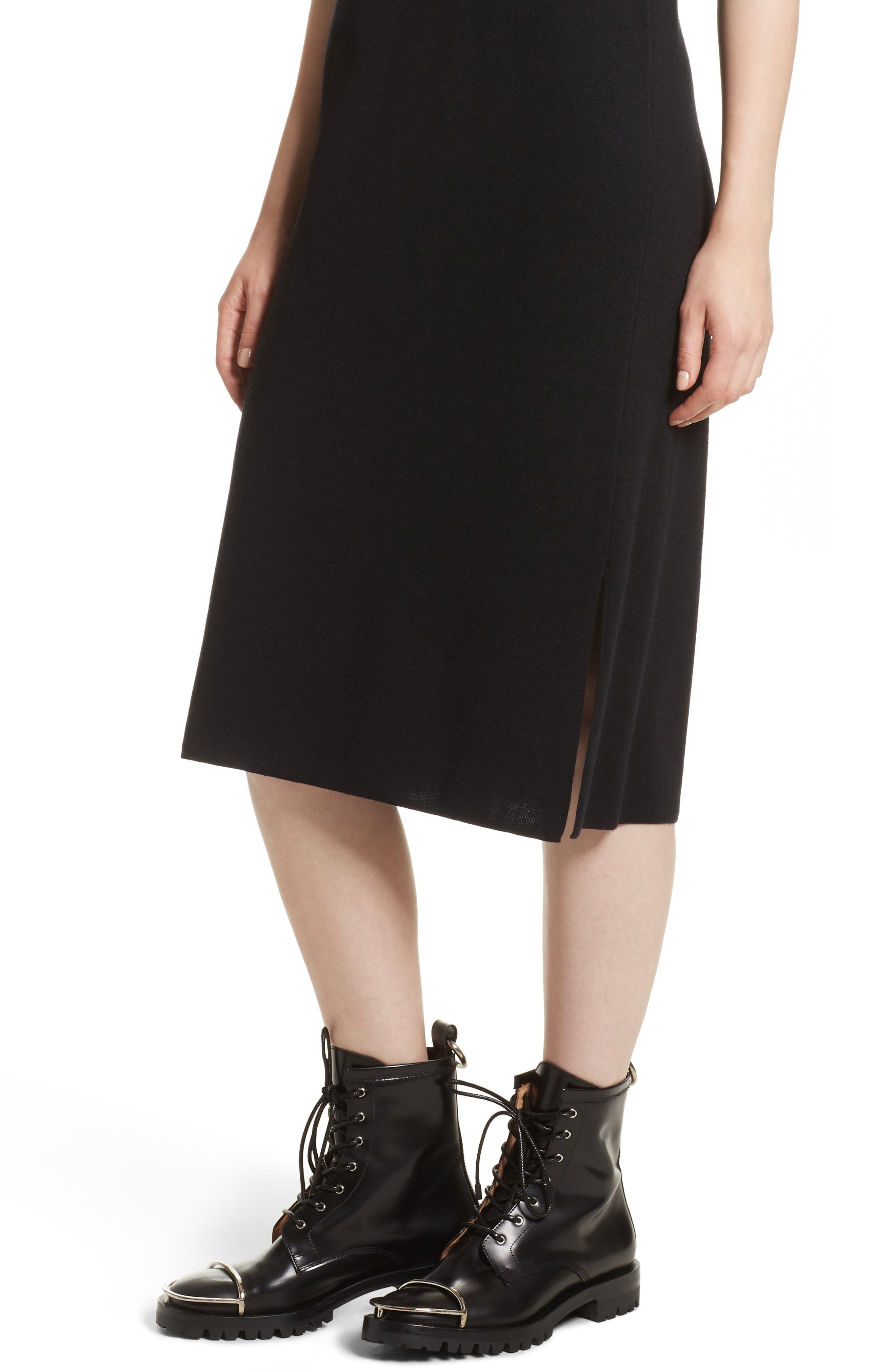 Milano Knit Midi Dress,                             Alternate thumbnail 4, color,                             Black